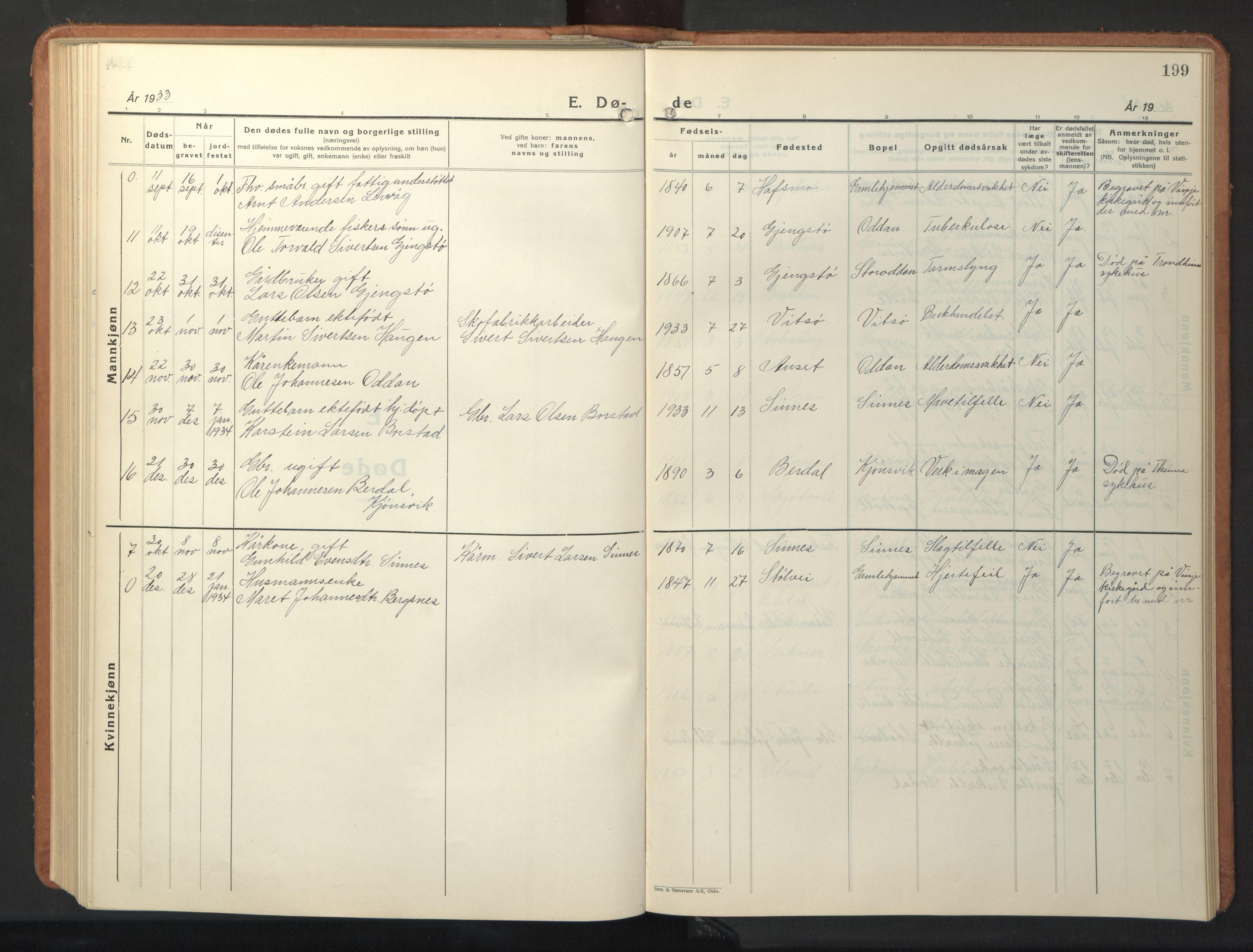 SAT, Ministerialprotokoller, klokkerbøker og fødselsregistre - Sør-Trøndelag, 630/L0508: Klokkerbok nr. 630C06, 1933-1950, s. 199