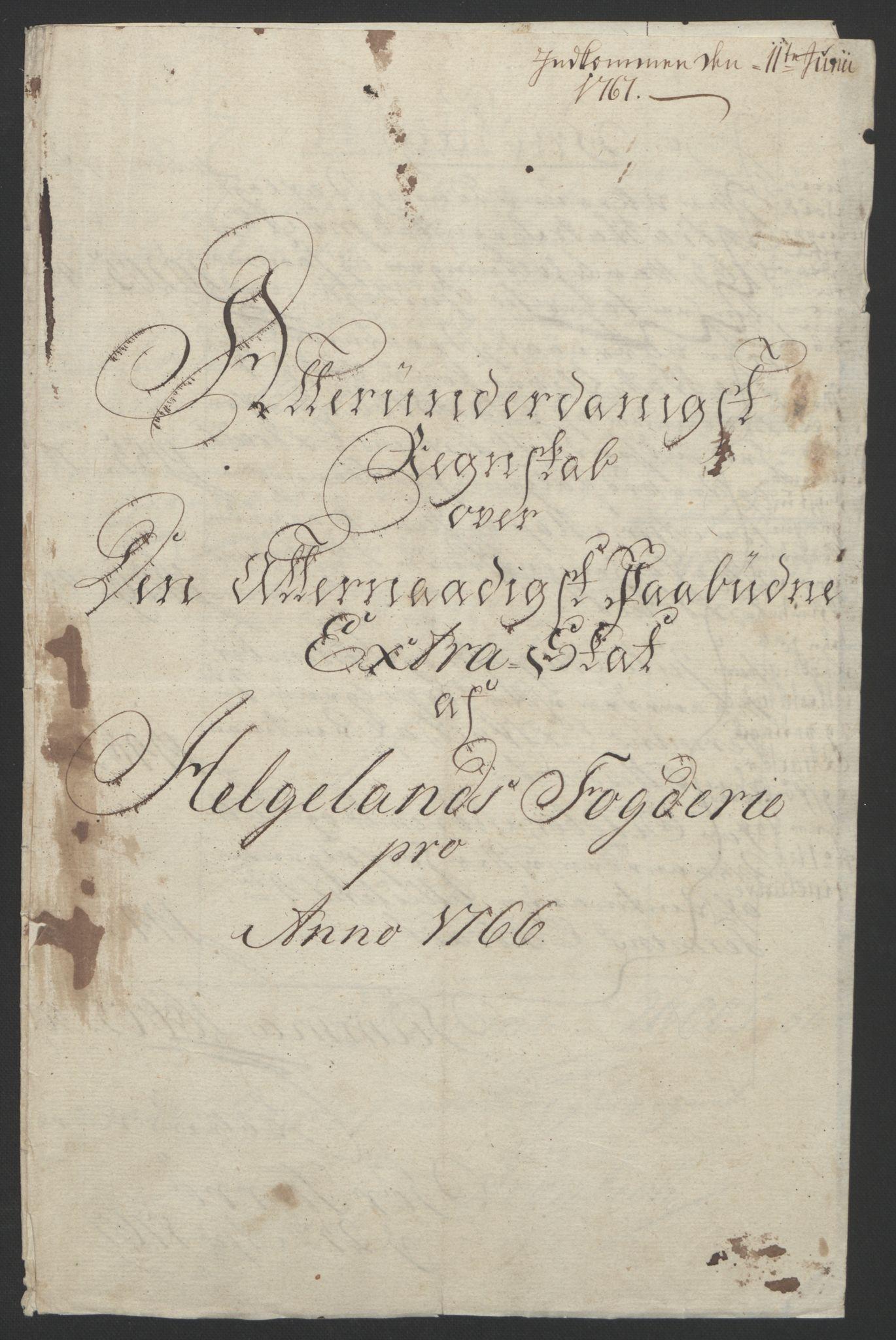 RA, Rentekammeret inntil 1814, Reviderte regnskaper, Fogderegnskap, R65/L4573: Ekstraskatten Helgeland, 1762-1772, s. 116