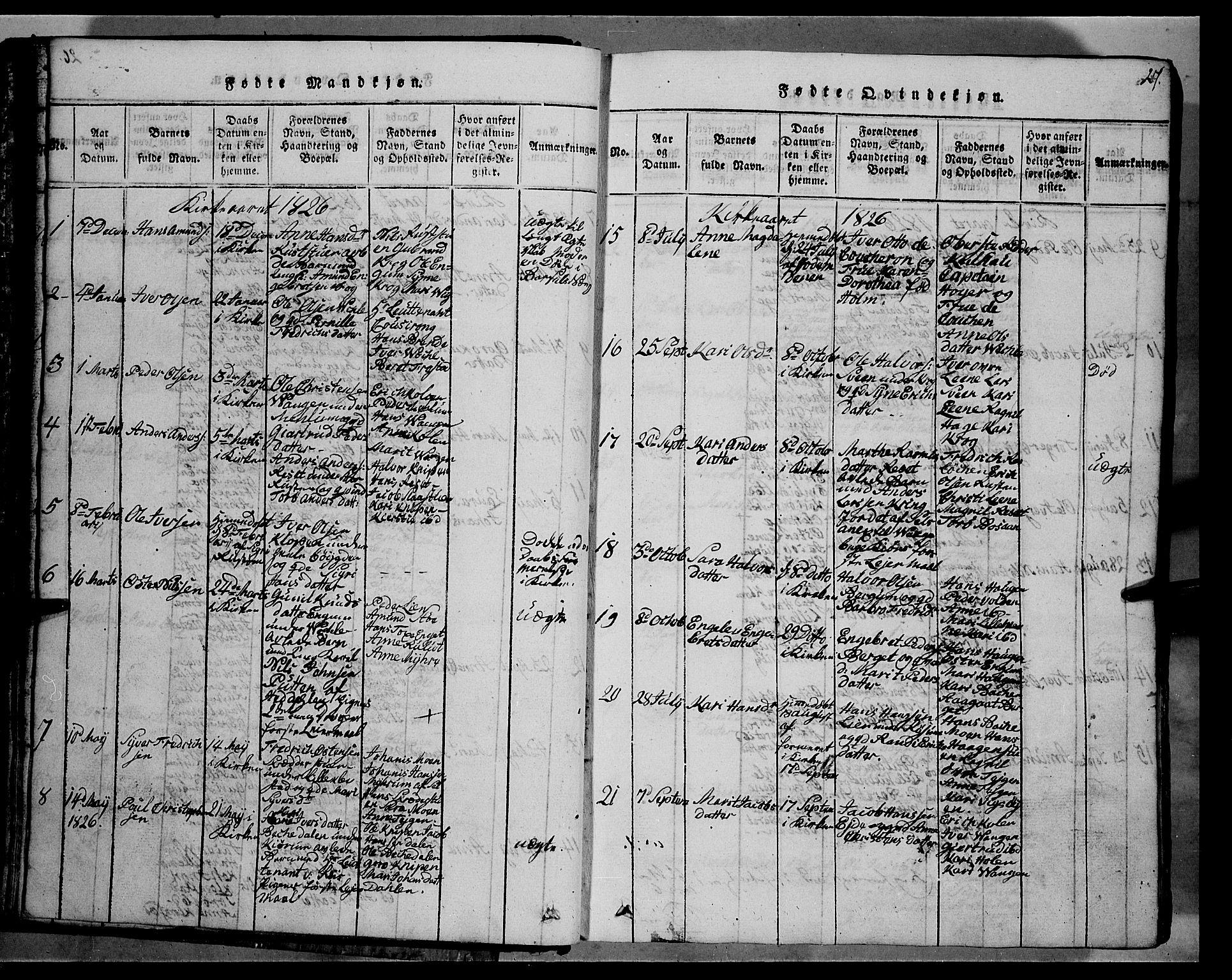 SAH, Fron prestekontor, H/Ha/Hab/L0002: Klokkerbok nr. 2, 1816-1850, s. 27