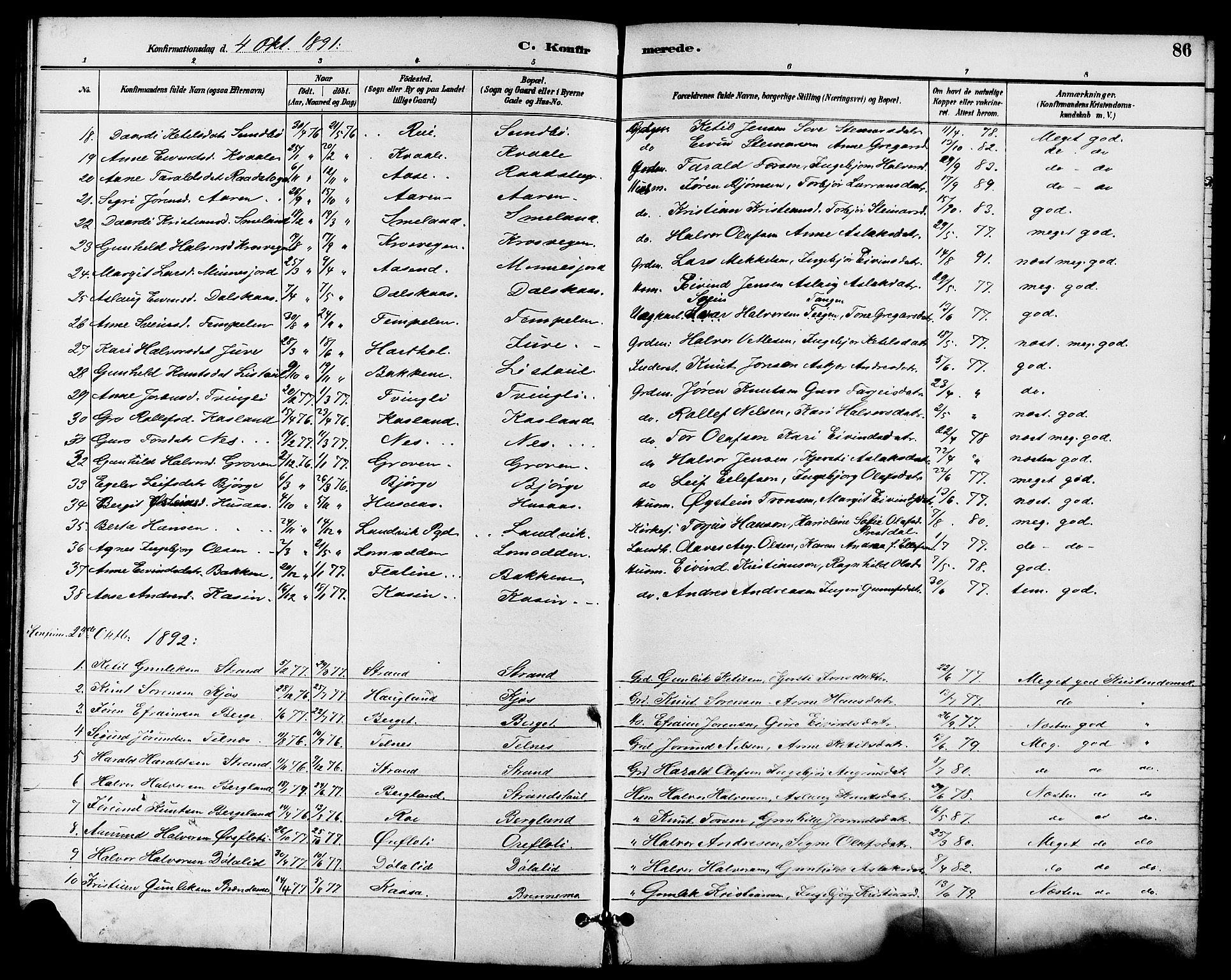 SAKO, Seljord kirkebøker, G/Ga/L0005: Klokkerbok nr. I 5, 1887-1914, s. 86