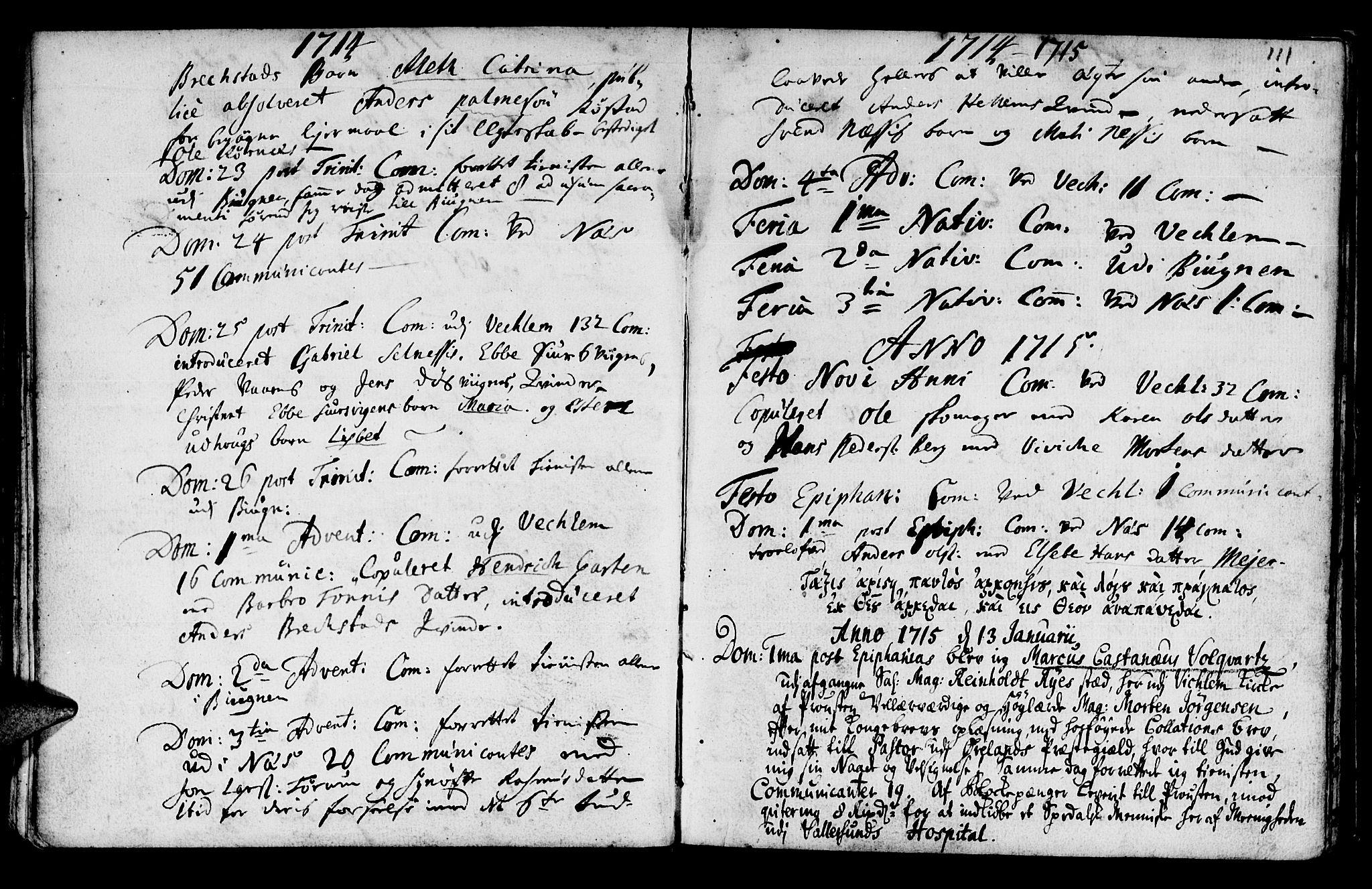 SAT, Ministerialprotokoller, klokkerbøker og fødselsregistre - Sør-Trøndelag, 659/L0731: Ministerialbok nr. 659A01, 1709-1731, s. 110-111