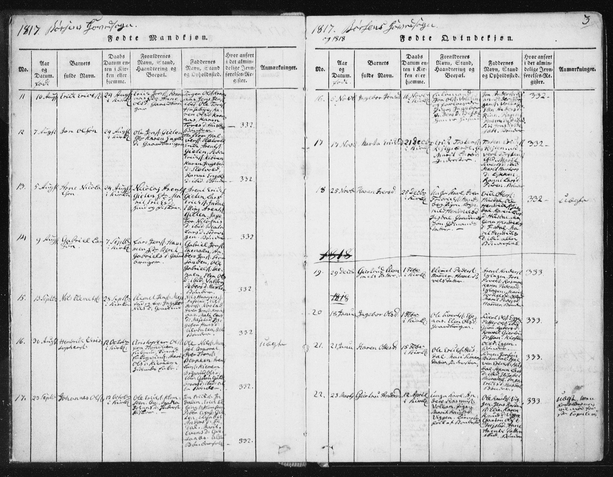 SAT, Ministerialprotokoller, klokkerbøker og fødselsregistre - Sør-Trøndelag, 665/L0770: Ministerialbok nr. 665A05, 1817-1829, s. 3