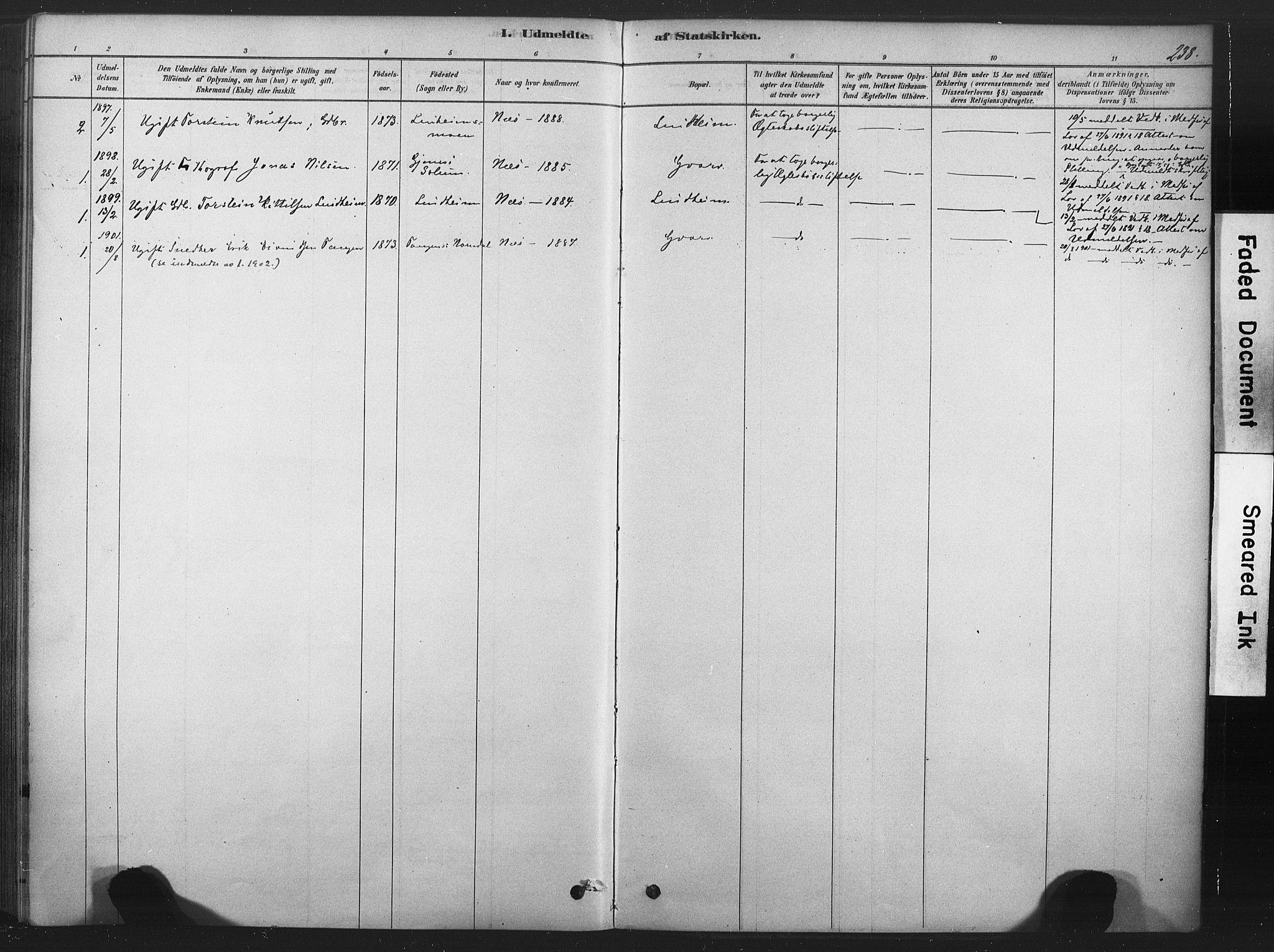SAKO, Sauherad kirkebøker, F/Fb/L0002: Ministerialbok nr. II 2, 1878-1901, s. 238