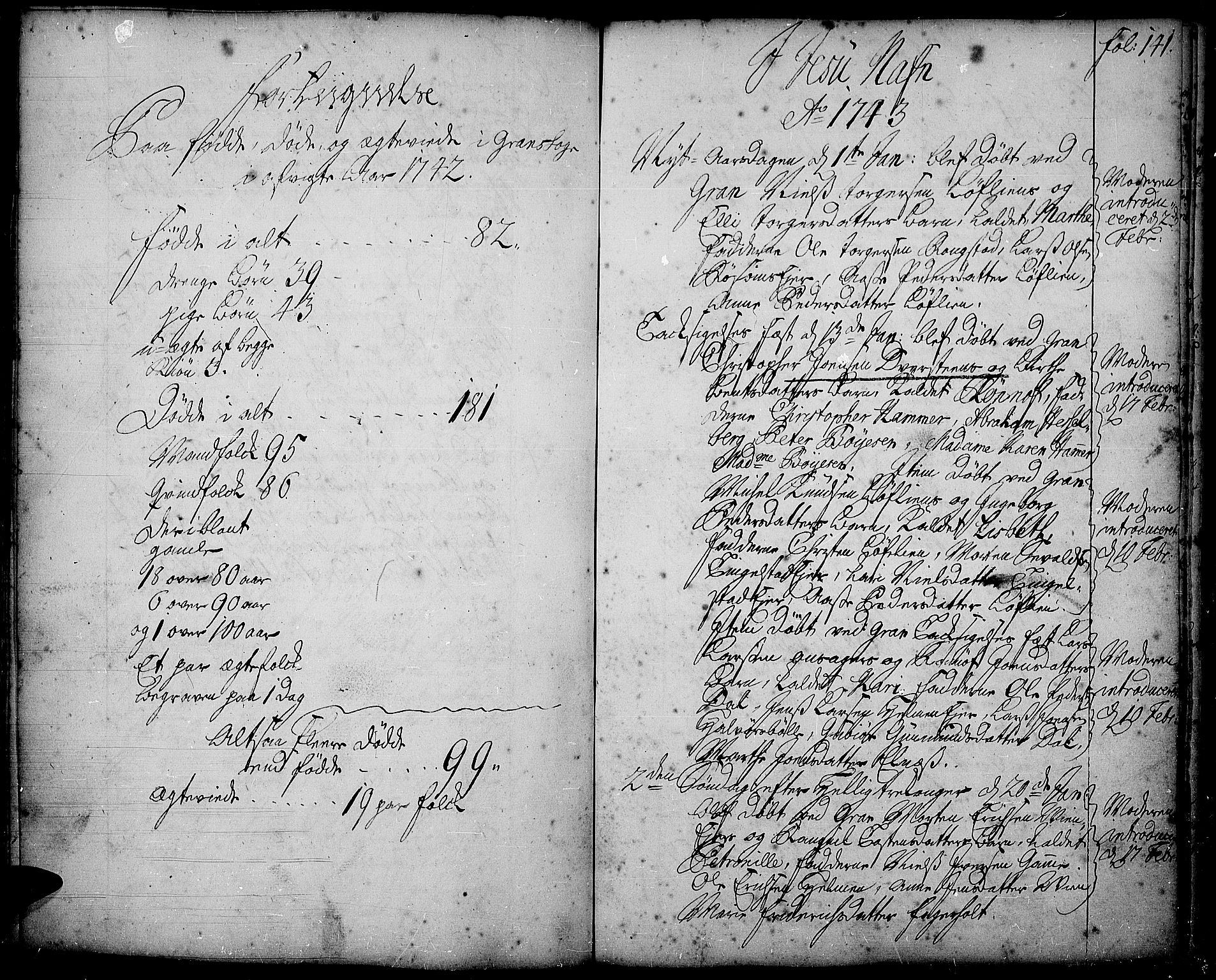 SAH, Gran prestekontor, Ministerialbok nr. 2, 1732-1744, s. 141