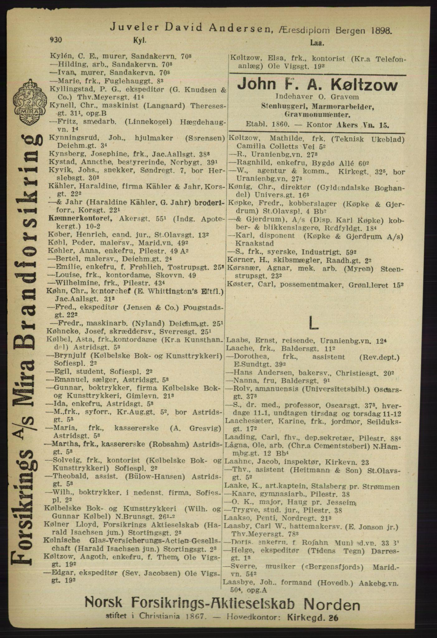 RA, Kristiania adressebok (publikasjon)*, 1918, s. 930