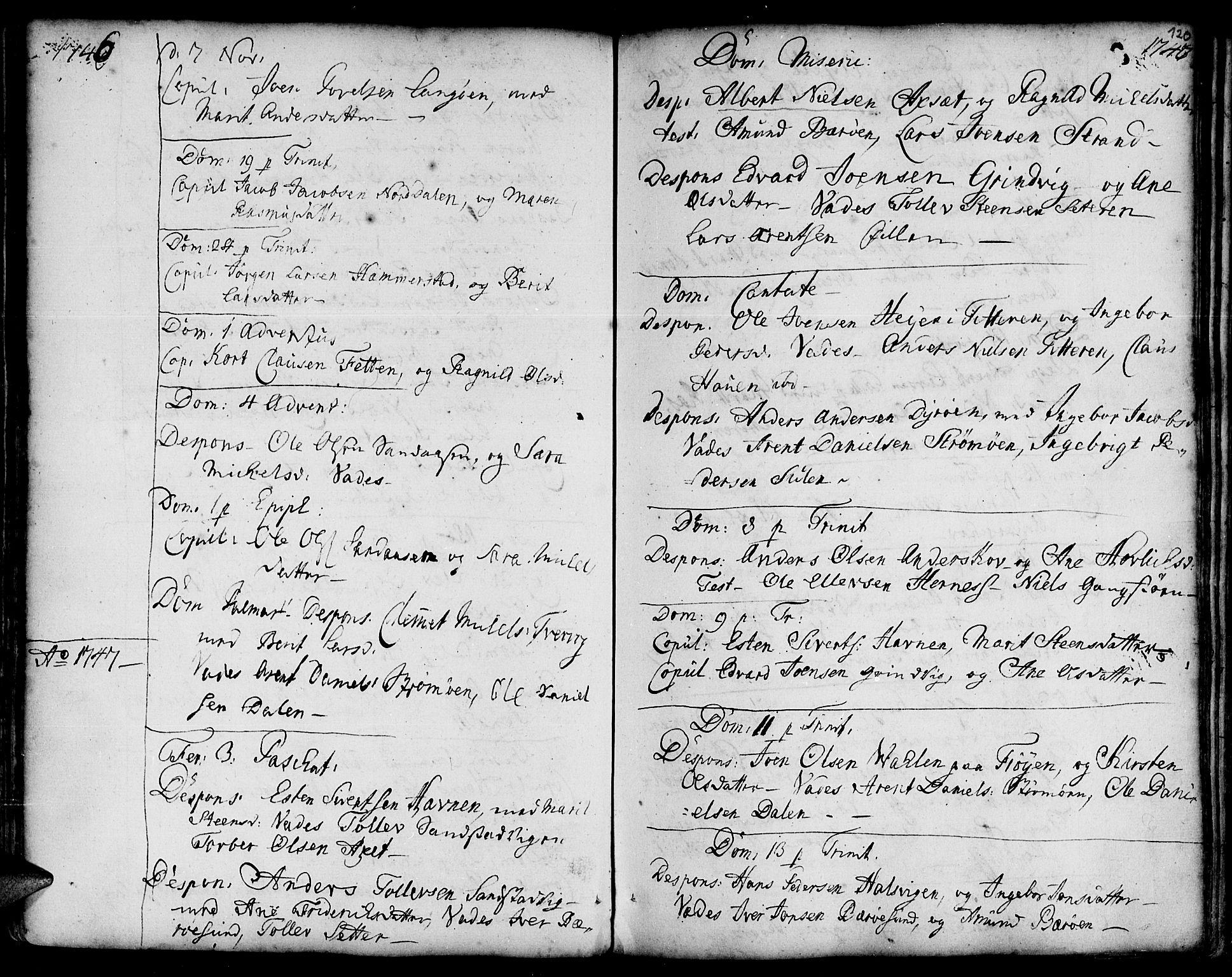 SAT, Ministerialprotokoller, klokkerbøker og fødselsregistre - Sør-Trøndelag, 634/L0525: Ministerialbok nr. 634A01, 1736-1775, s. 120