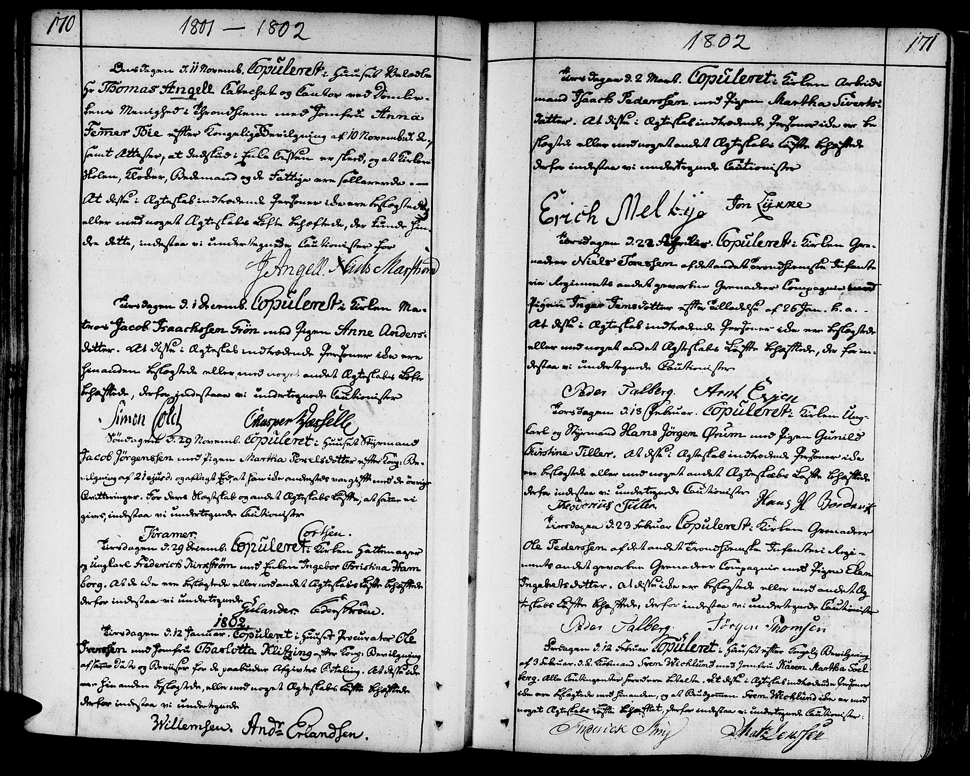 SAT, Ministerialprotokoller, klokkerbøker og fødselsregistre - Sør-Trøndelag, 602/L0105: Ministerialbok nr. 602A03, 1774-1814, s. 170-171