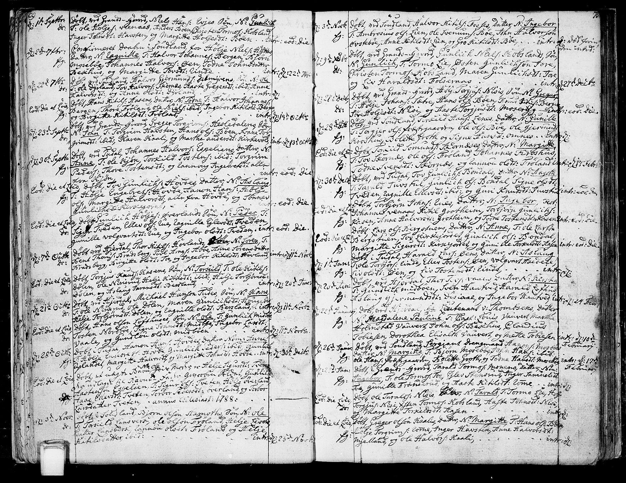 SAKO, Hjartdal kirkebøker, F/Fa/L0005: Ministerialbok nr. I 5, 1776-1801, s. 69-70