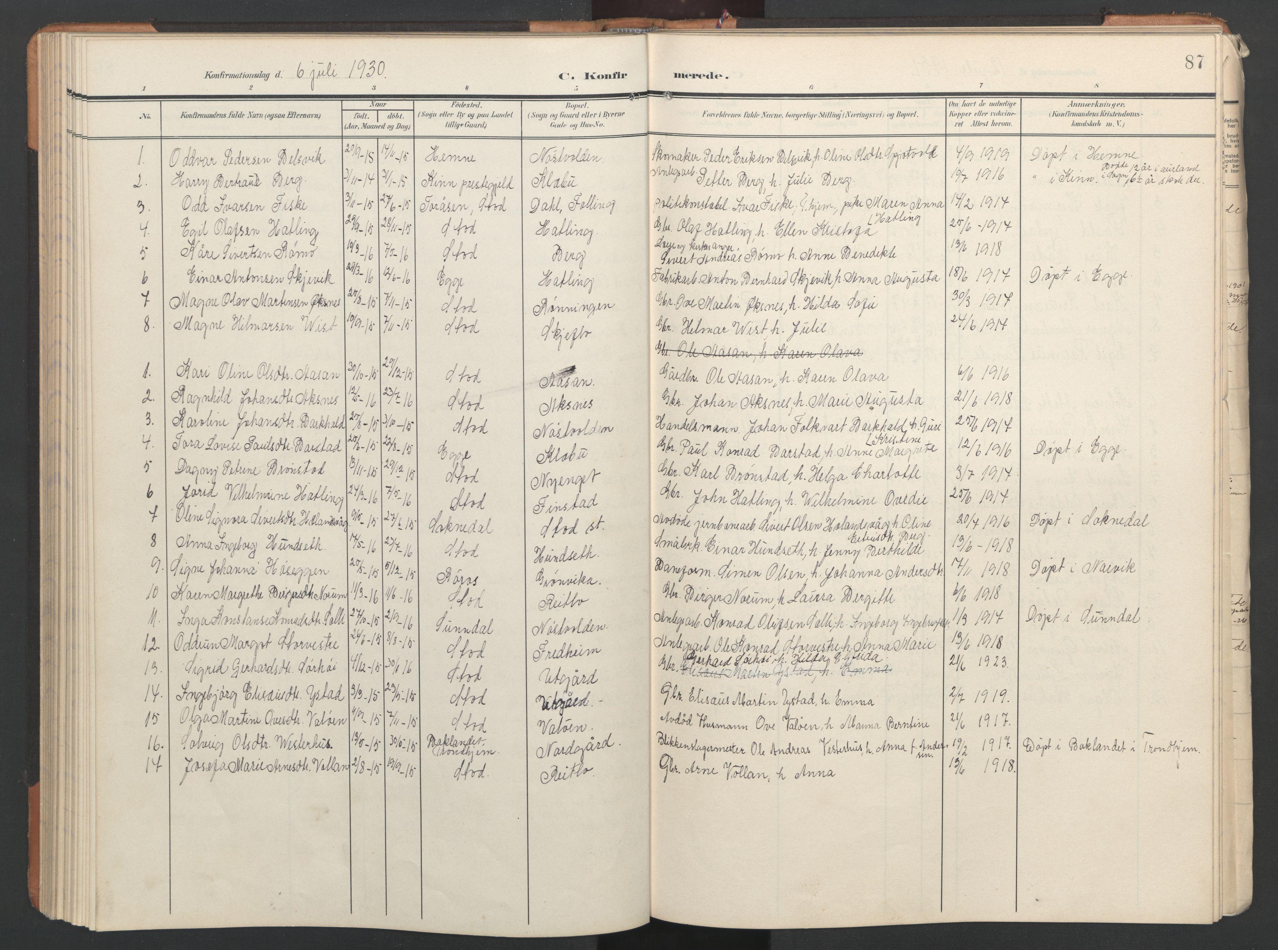 SAT, Ministerialprotokoller, klokkerbøker og fødselsregistre - Nord-Trøndelag, 746/L0455: Klokkerbok nr. 746C01, 1908-1933, s. 87