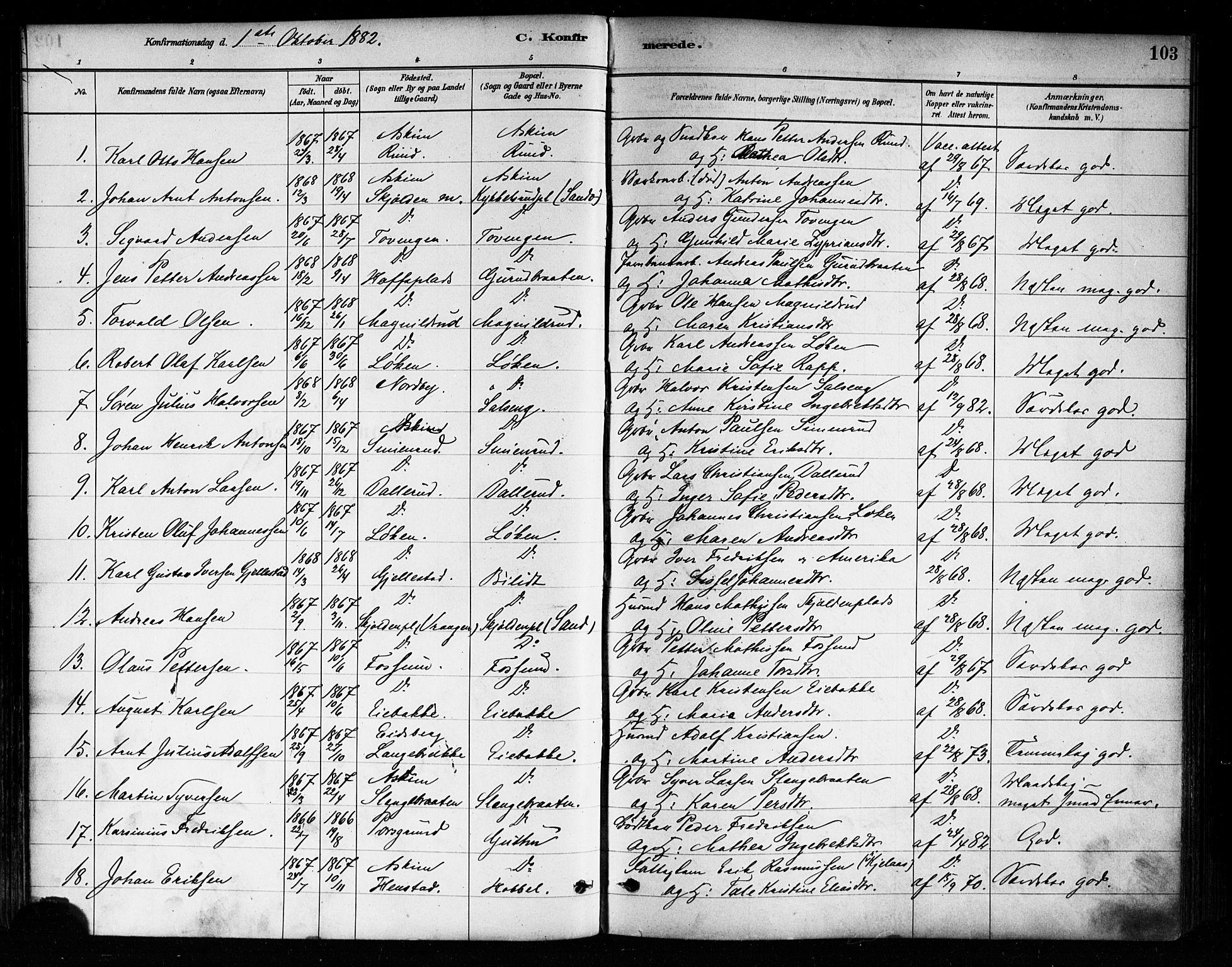 SAO, Askim prestekontor Kirkebøker, F/Fa/L0007: Ministerialbok nr. 7, 1882-1897, s. 103