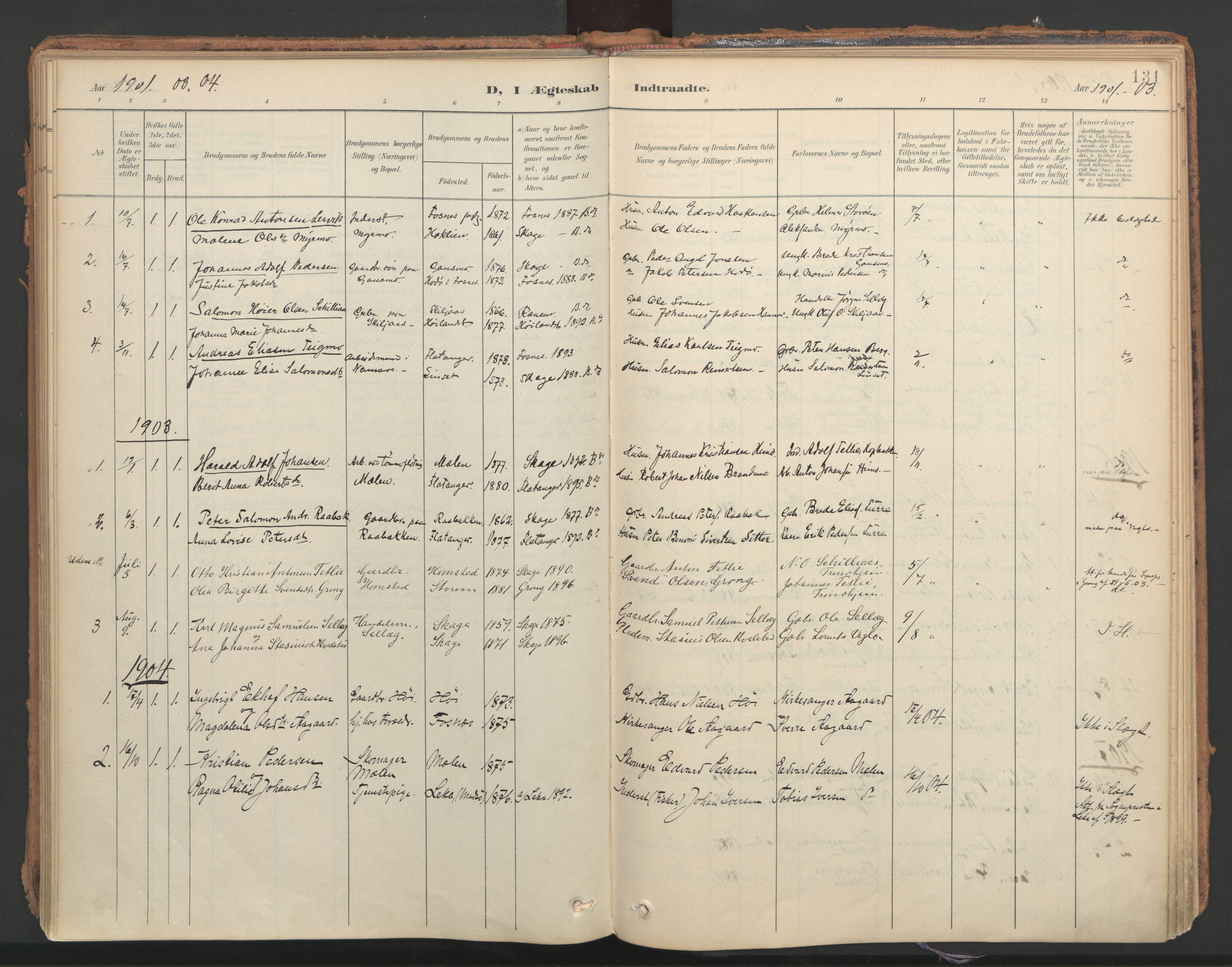 SAT, Ministerialprotokoller, klokkerbøker og fødselsregistre - Nord-Trøndelag, 766/L0564: Ministerialbok nr. 767A02, 1900-1932, s. 131