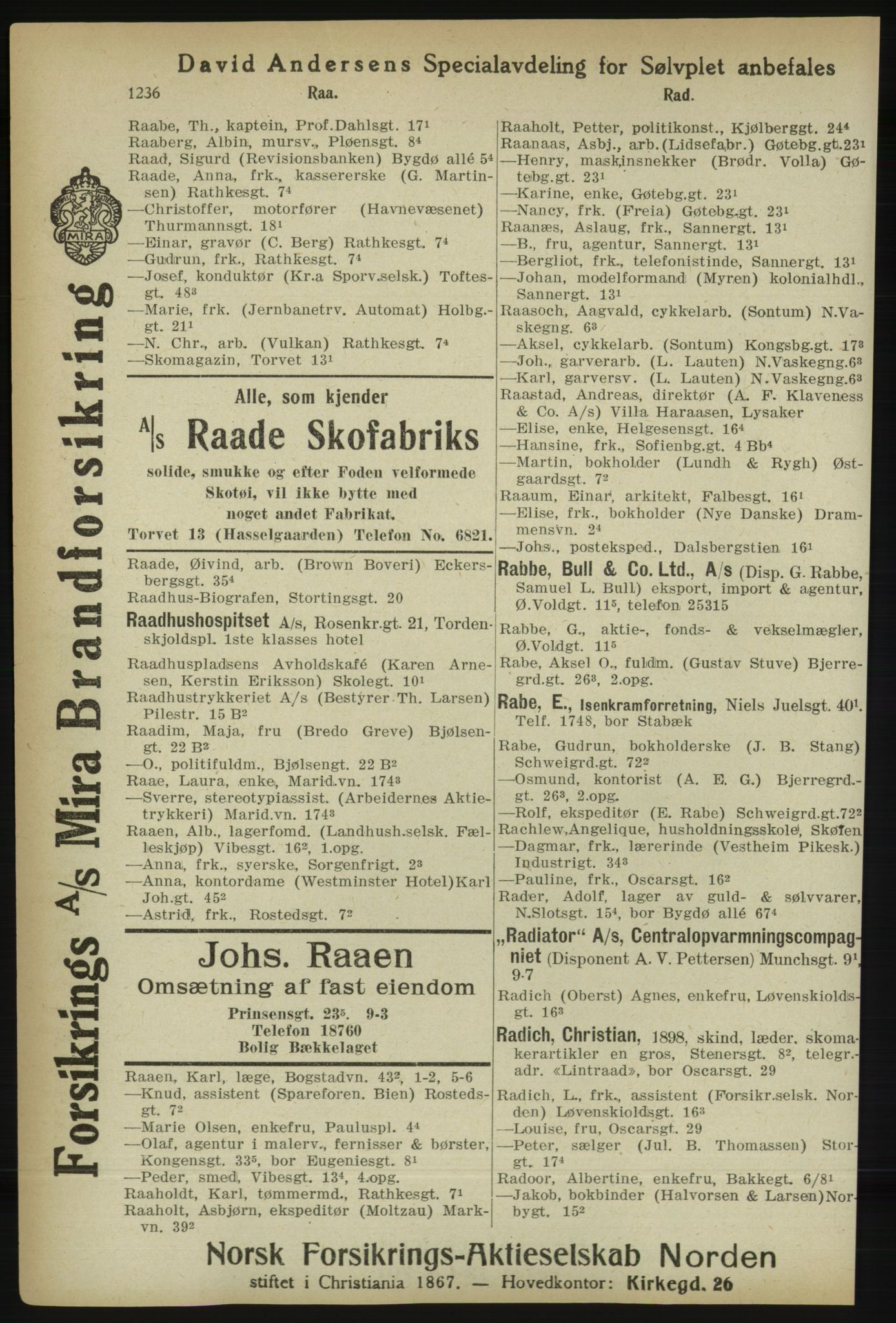 RA, Kristiania adressebok (publikasjon)*, 1918, s. 1236