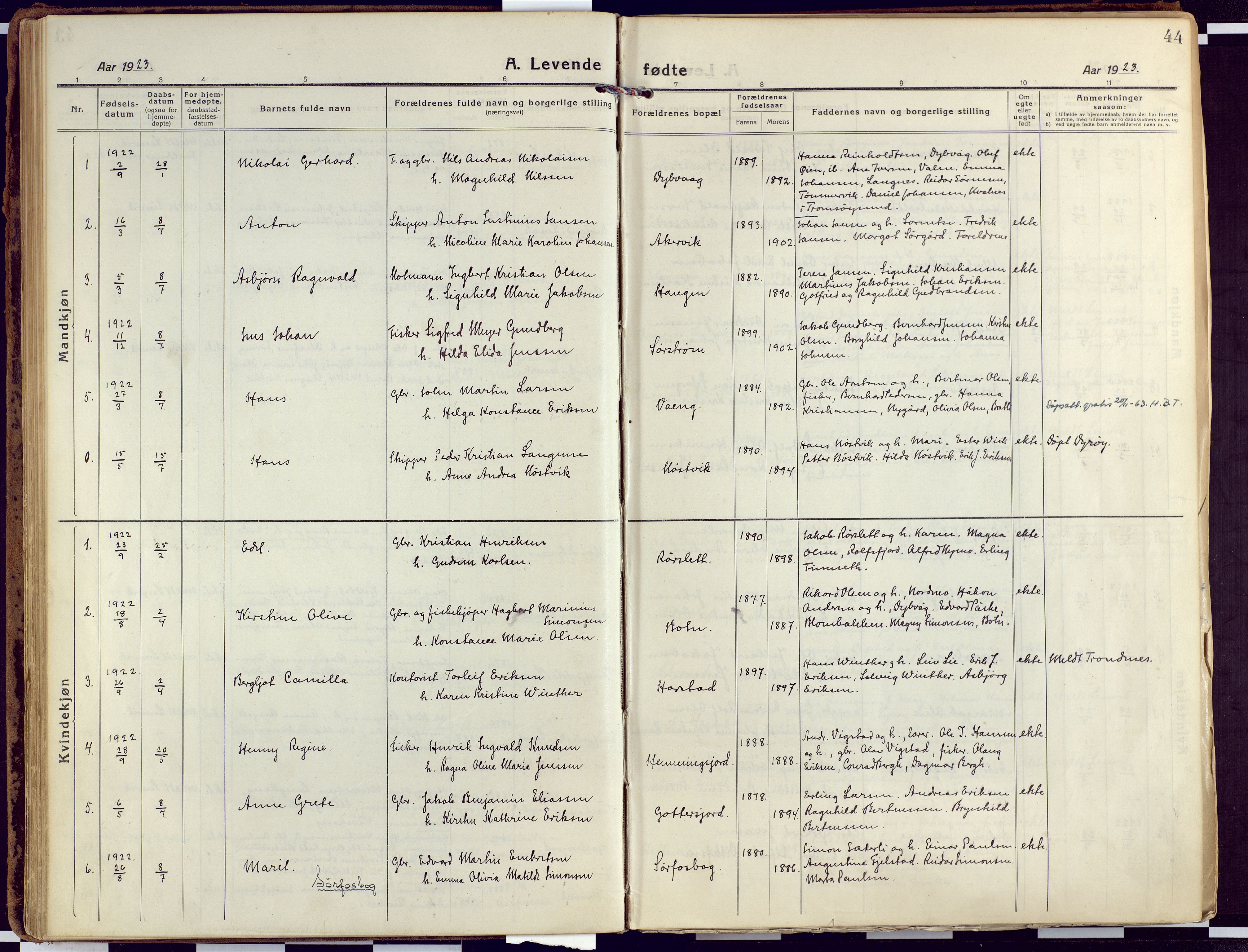 SATØ, Tranøy sokneprestkontor, I/Ia/Iaa/L0015kirke: Ministerialbok nr. 15, 1919-1928, s. 44