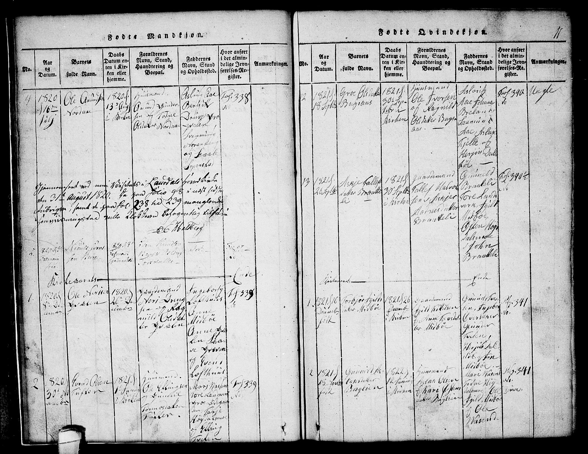 SAKO, Lårdal kirkebøker, G/Gc/L0001: Klokkerbok nr. III 1, 1815-1854, s. 11