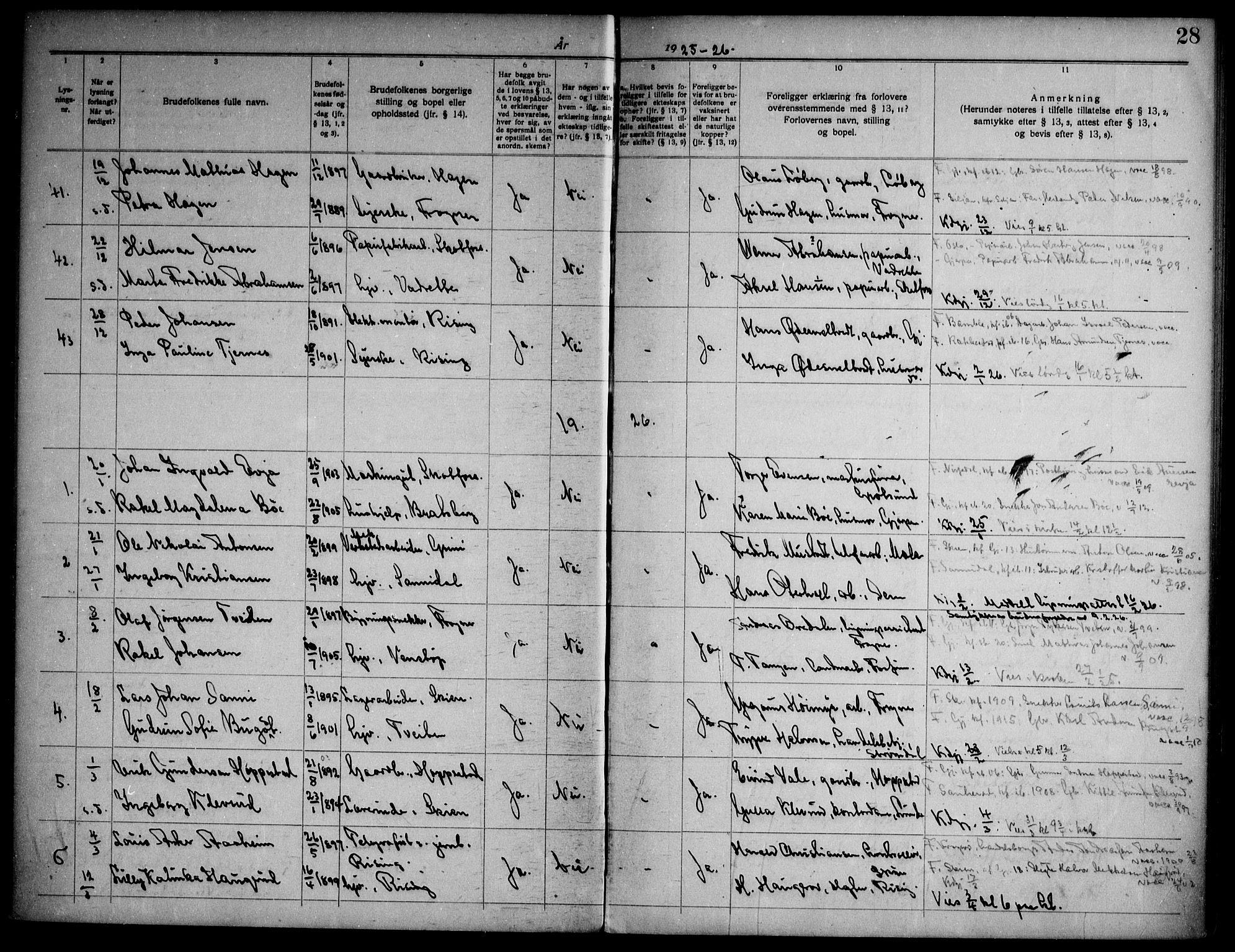 SAKO, Gjerpen kirkebøker, H/Ha/L0003: Lysningsprotokoll nr. I 3, 1919-1946, s. 28