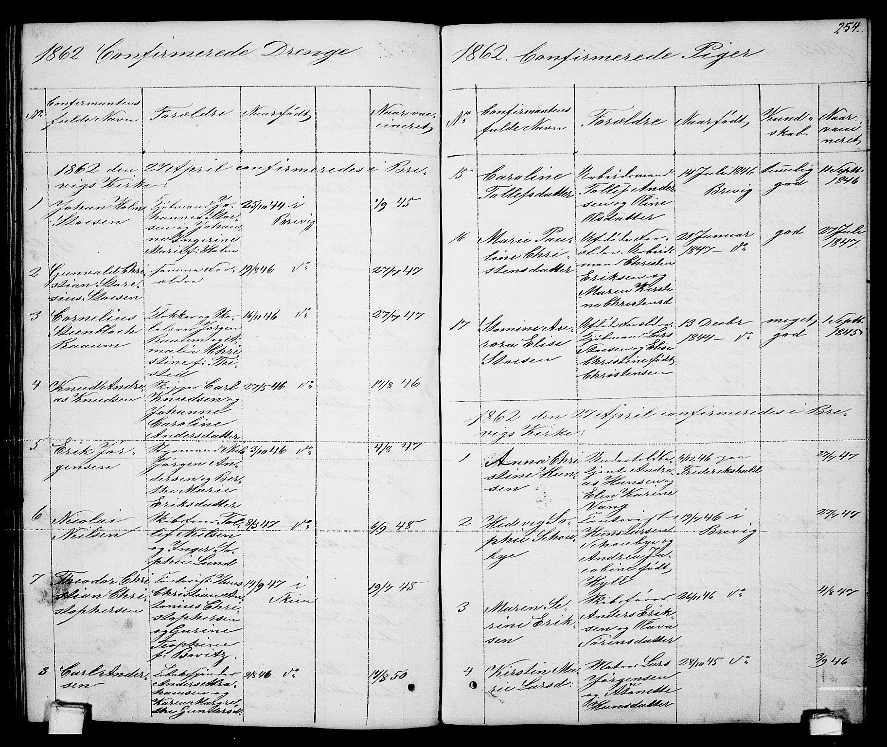 SAKO, Brevik kirkebøker, G/Ga/L0002: Klokkerbok nr. 2, 1846-1865, s. 254