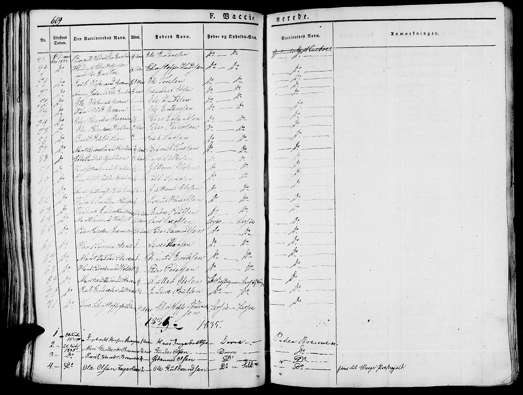 SAH, Lesja prestekontor, Ministerialbok nr. 5, 1830-1842, s. 609