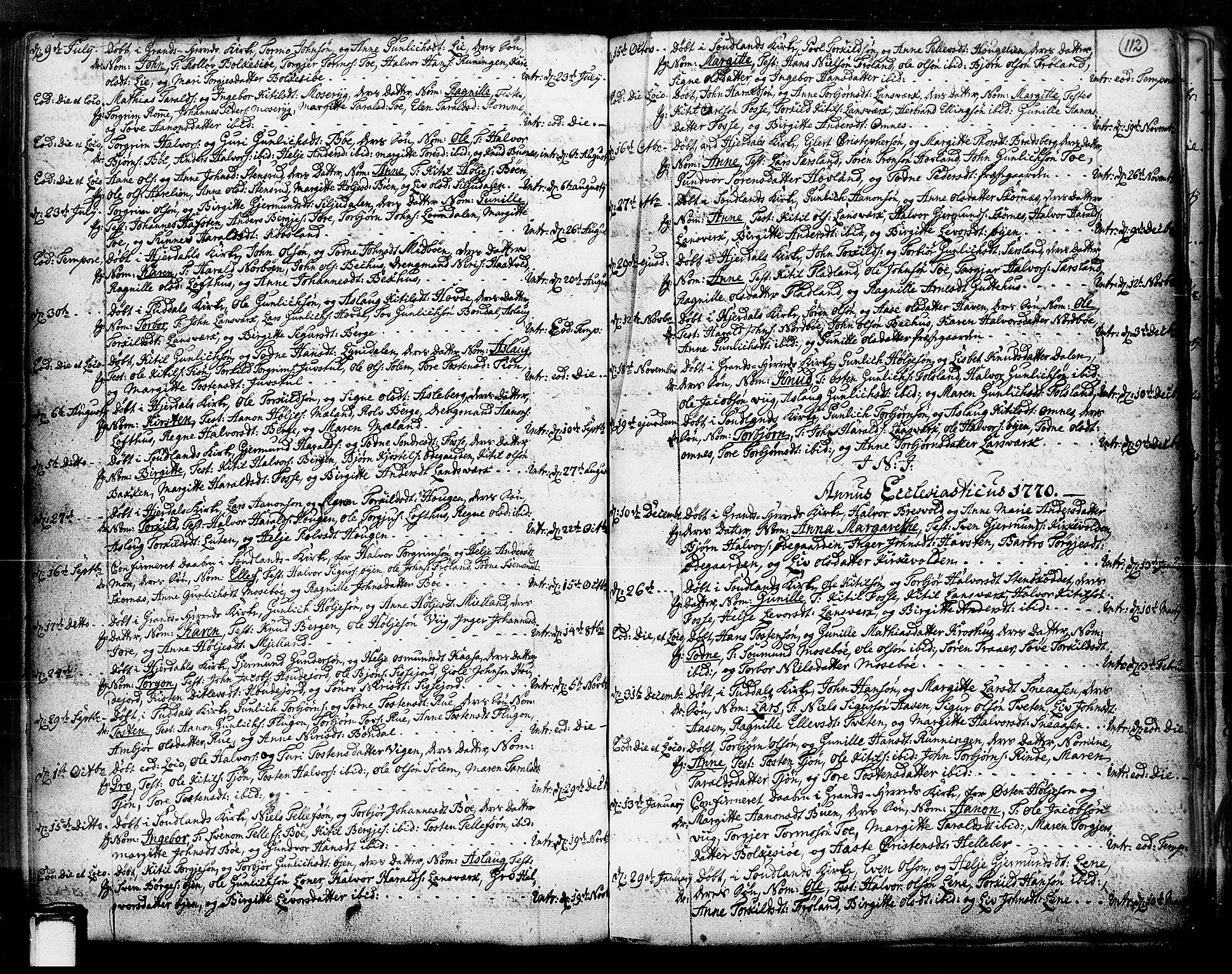 SAKO, Hjartdal kirkebøker, F/Fa/L0003: Ministerialbok nr. I 3, 1727-1775, s. 112