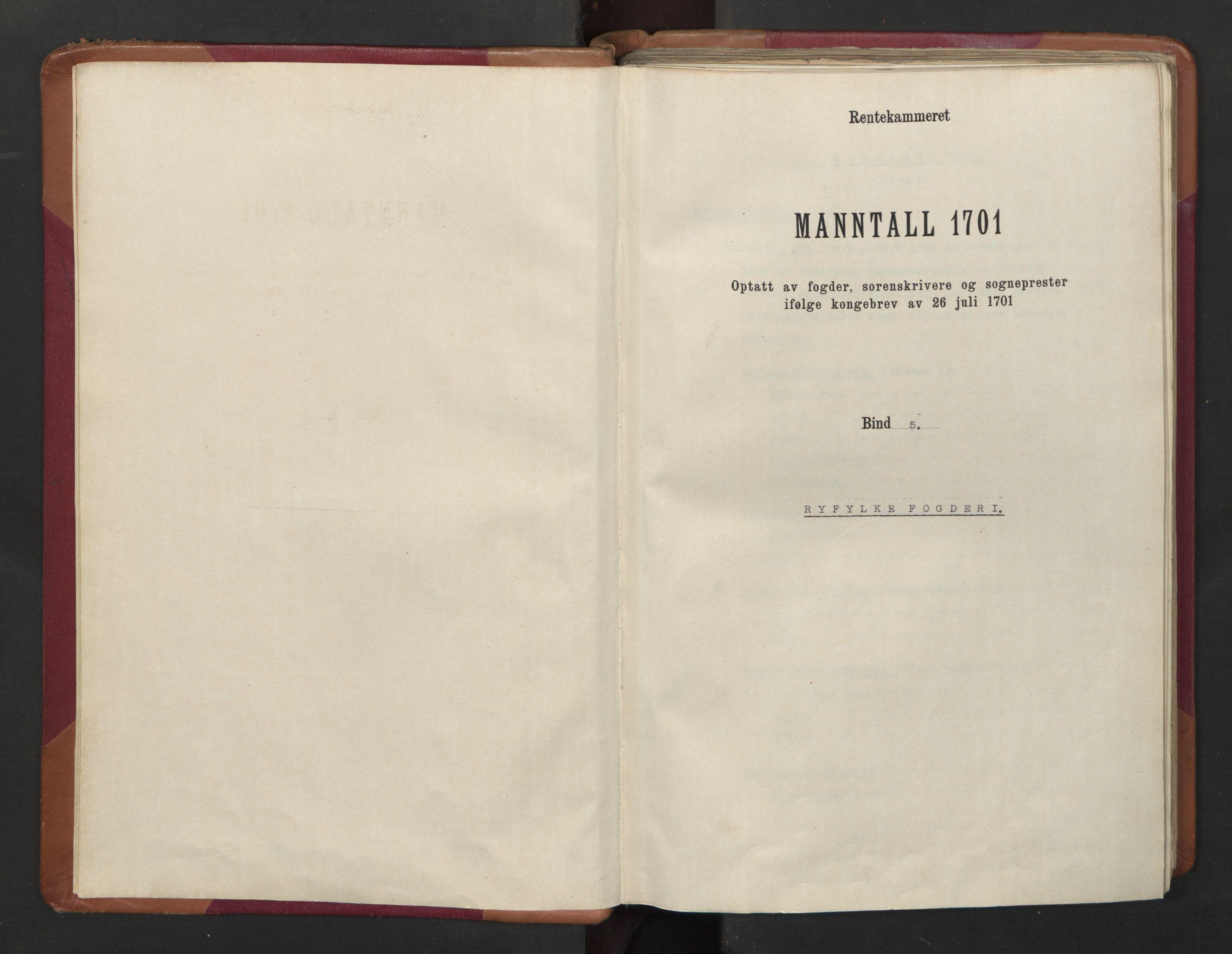 RA, Manntallet 1701, nr. 5: Ryfylke fogderi, 1701