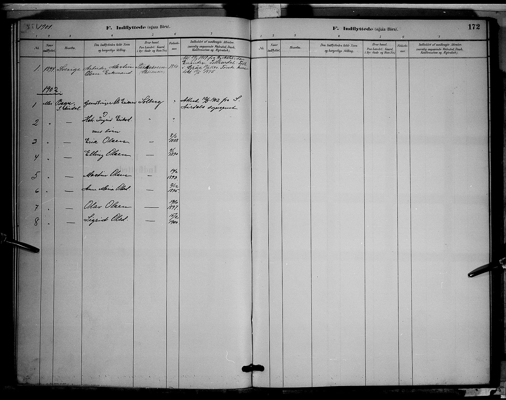 SAH, Søndre Land prestekontor, L/L0003: Klokkerbok nr. 3, 1884-1902, s. 172