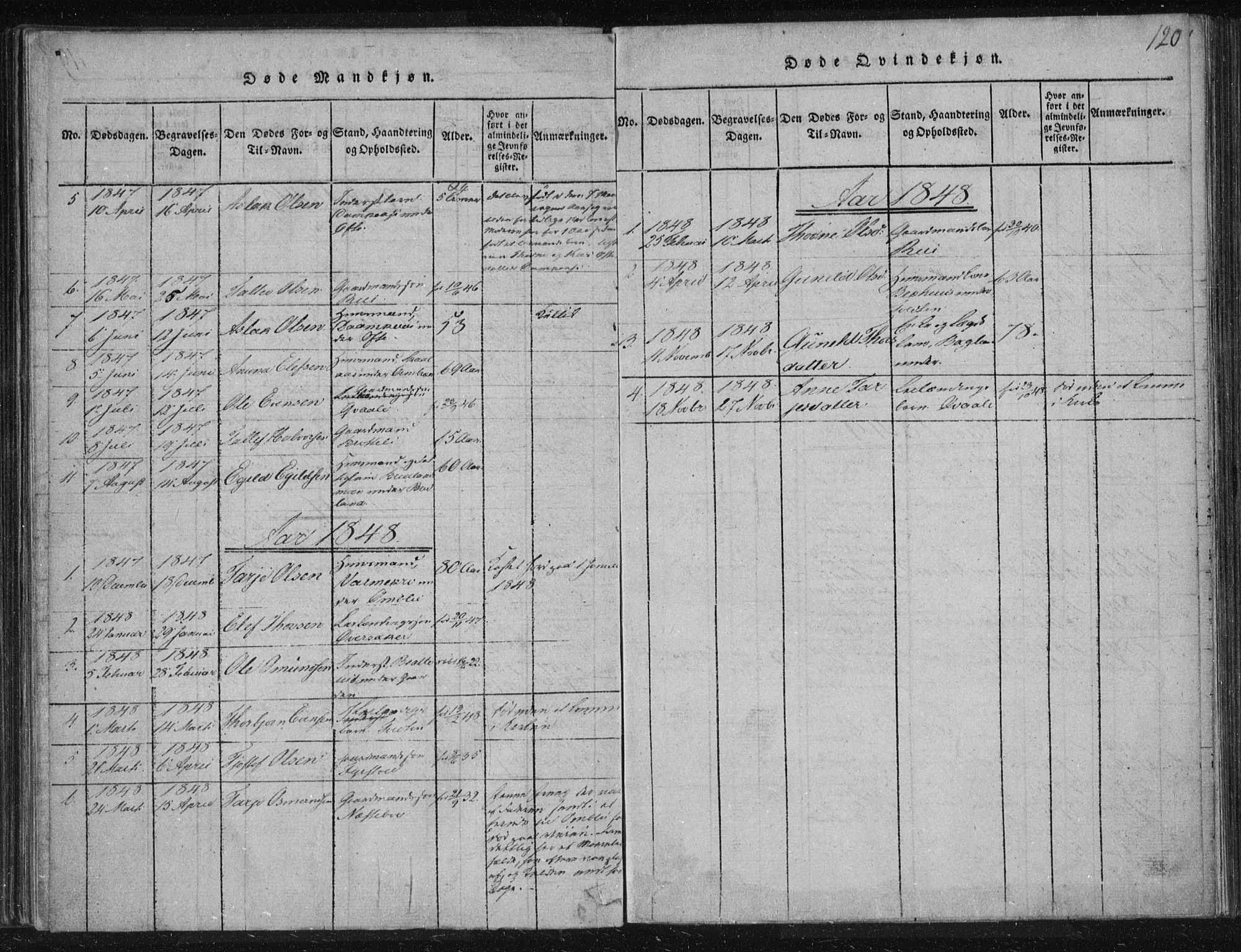 SAKO, Lårdal kirkebøker, F/Fc/L0001: Ministerialbok nr. III 1, 1815-1860, s. 120