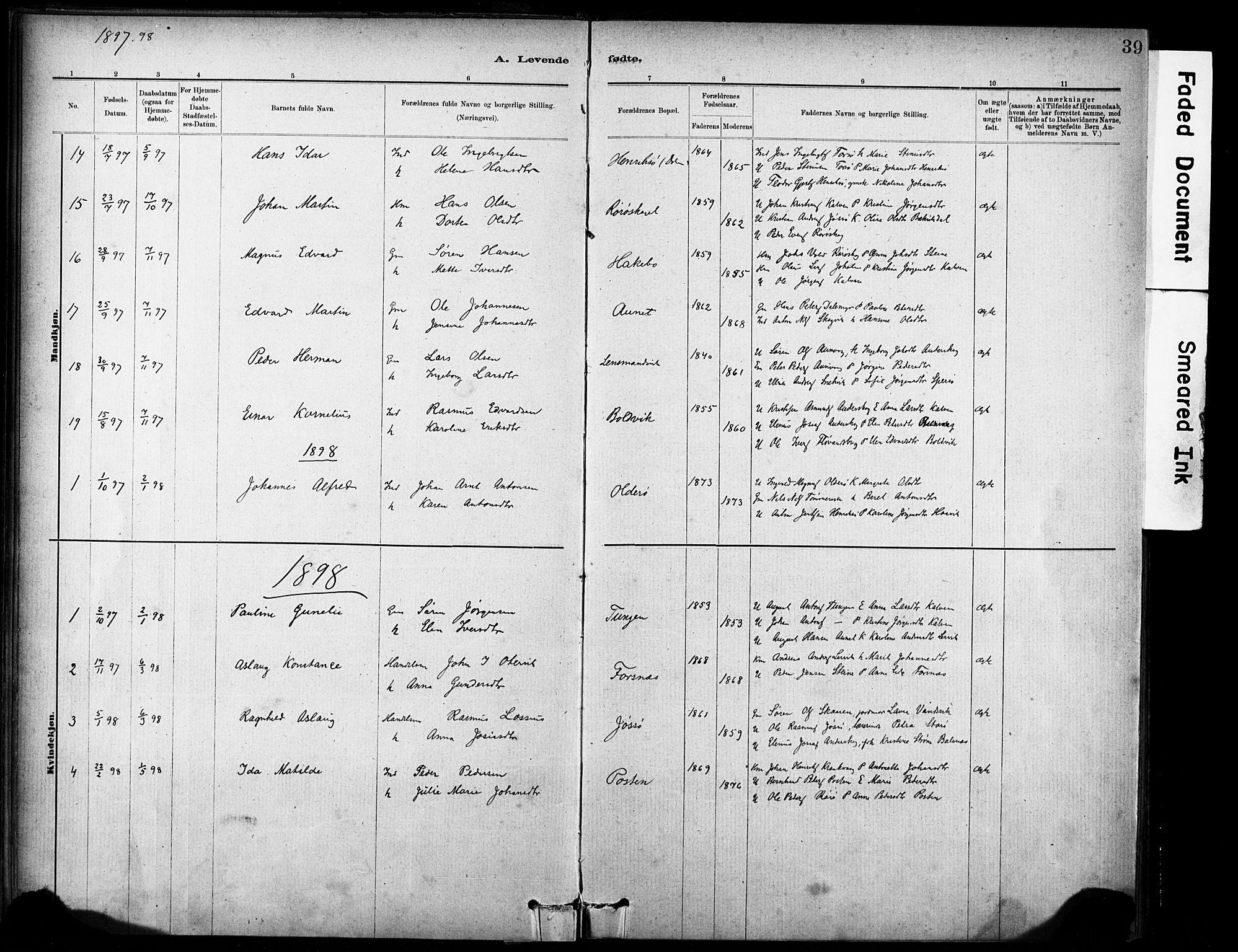 SAT, Ministerialprotokoller, klokkerbøker og fødselsregistre - Sør-Trøndelag, 635/L0551: Ministerialbok nr. 635A01, 1882-1899, s. 39