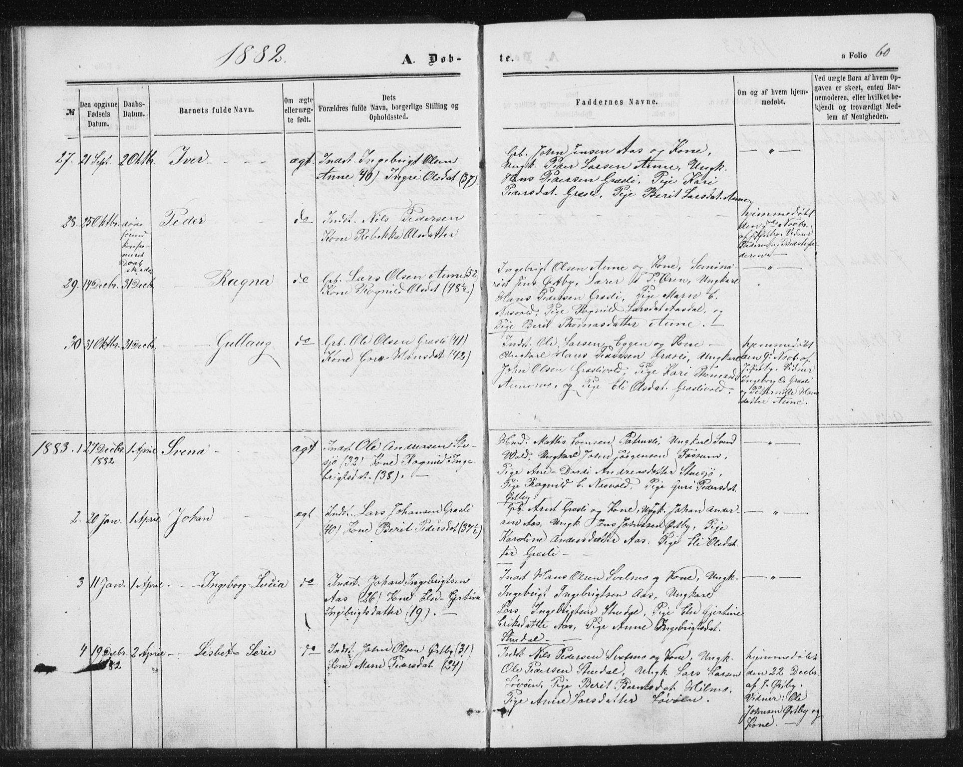 SAT, Ministerialprotokoller, klokkerbøker og fødselsregistre - Sør-Trøndelag, 698/L1166: Klokkerbok nr. 698C03, 1861-1887, s. 60