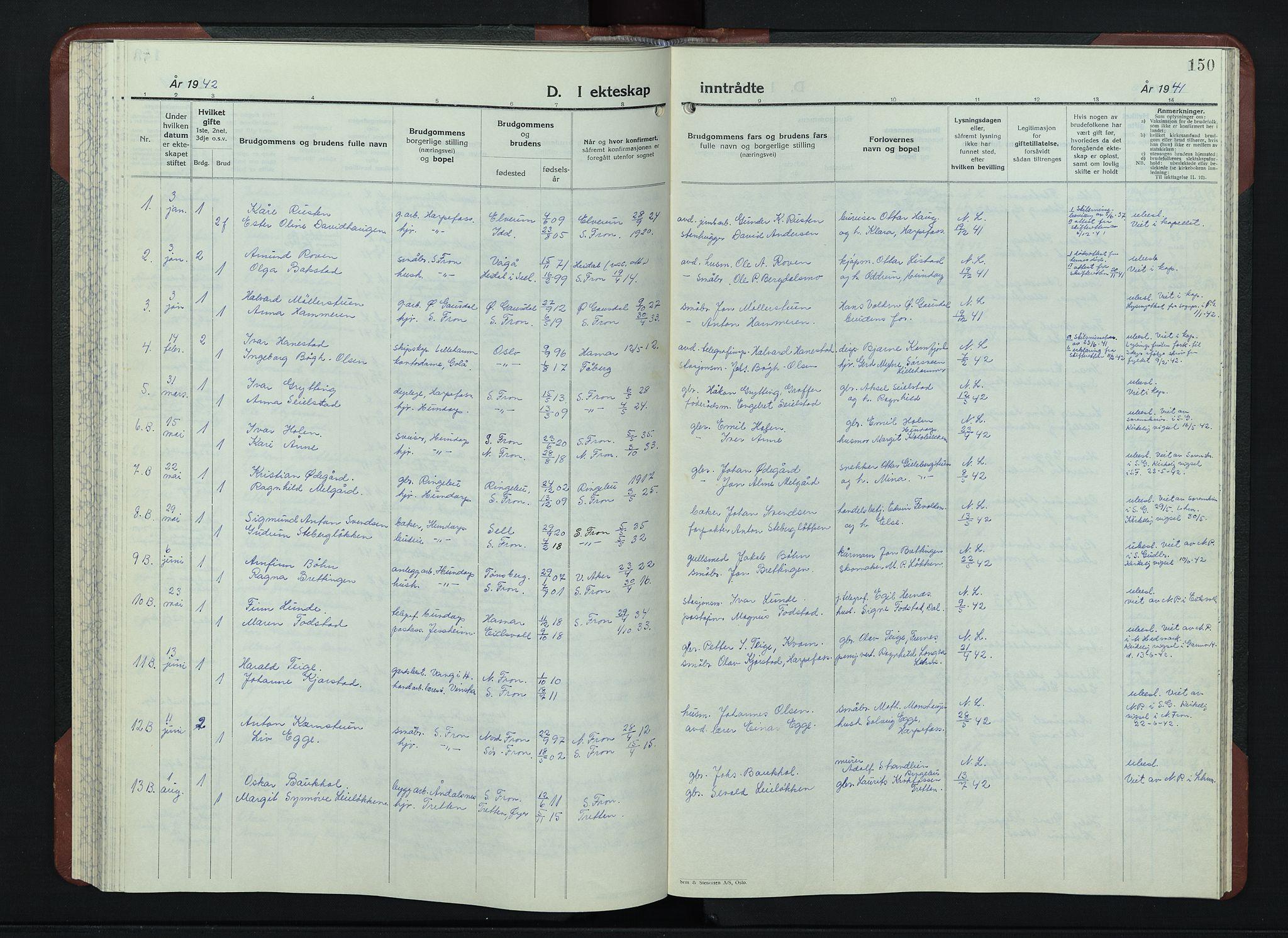 SAH, Sør-Fron prestekontor, H/Ha/Hab/L0006: Klokkerbok nr. 6, 1933-1948, s. 150