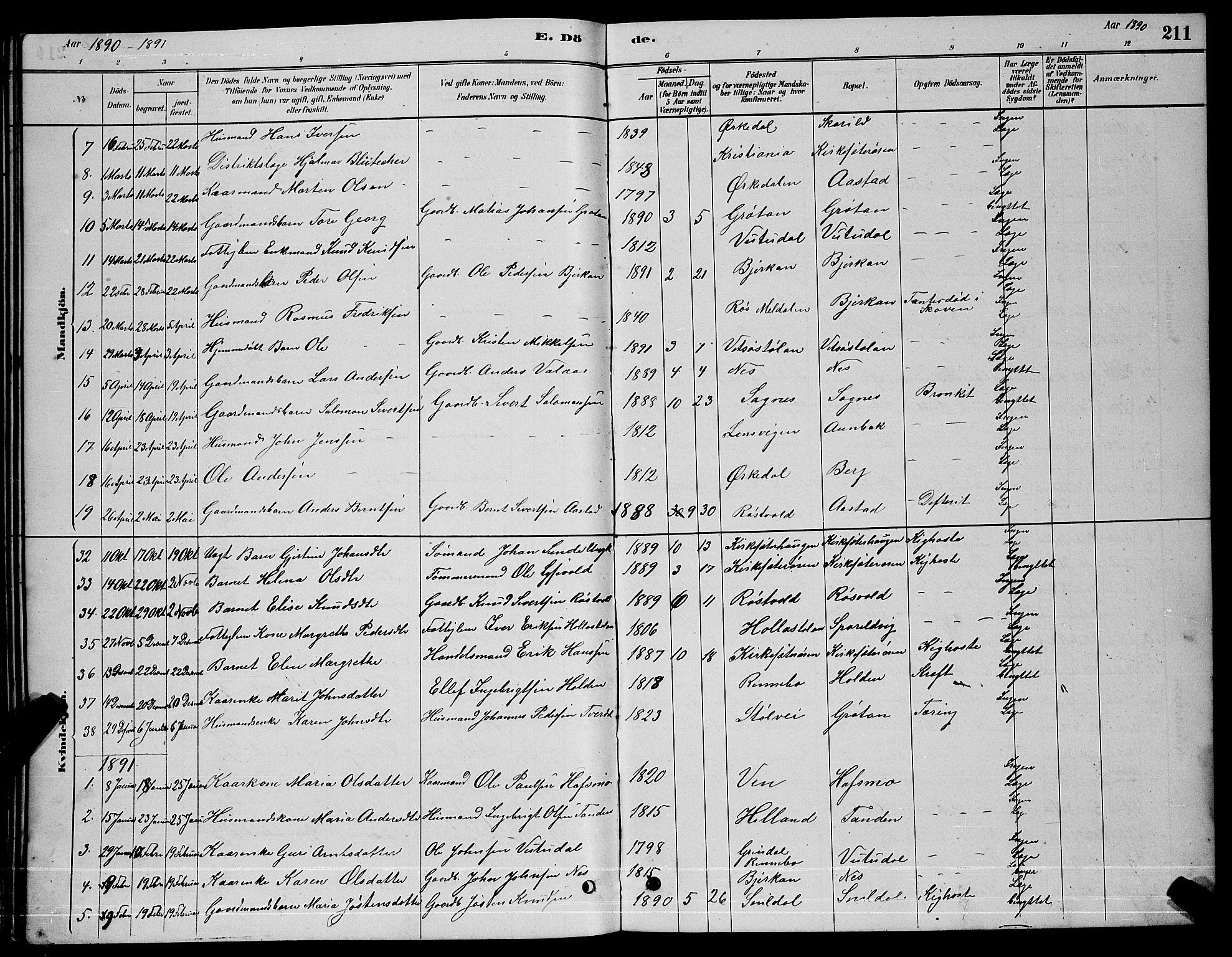 SAT, Ministerialprotokoller, klokkerbøker og fødselsregistre - Sør-Trøndelag, 630/L0504: Klokkerbok nr. 630C02, 1879-1898, s. 211