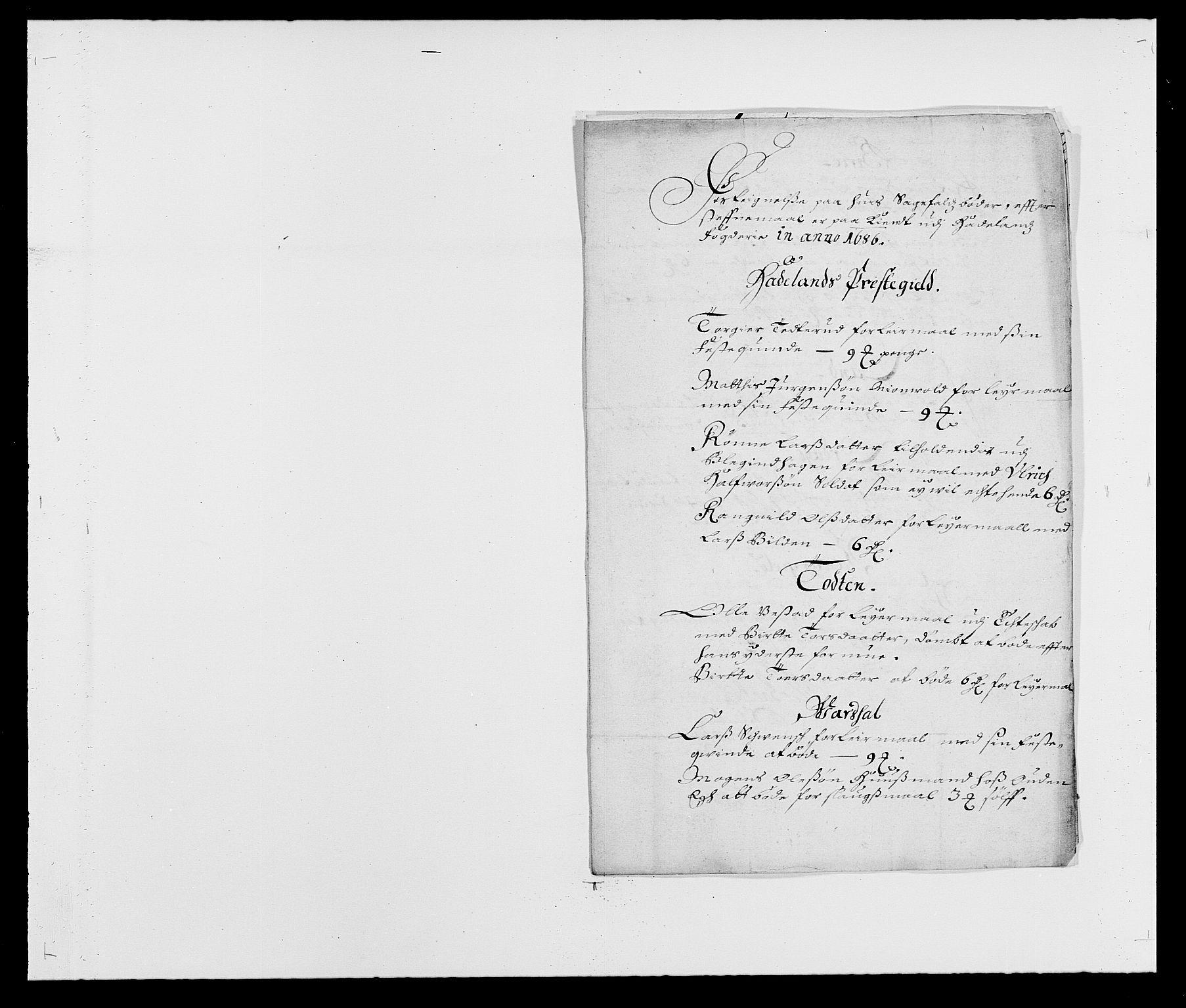 RA, Rentekammeret inntil 1814, Reviderte regnskaper, Fogderegnskap, R18/L1285: Fogderegnskap Hadeland, Toten og Valdres, 1686, s. 141