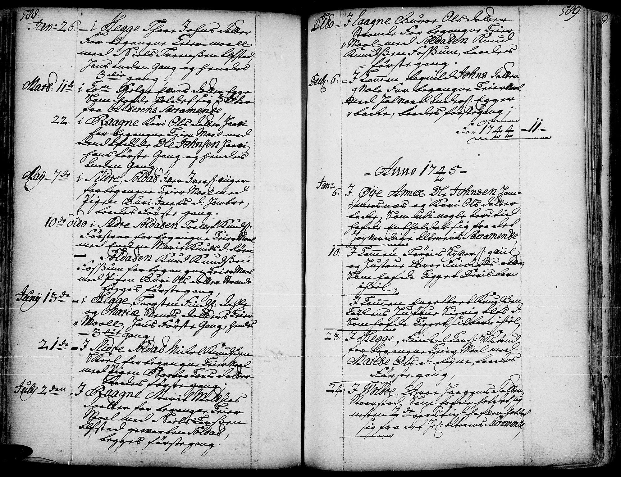 SAH, Slidre prestekontor, Ministerialbok nr. 1, 1724-1814, s. 588-589