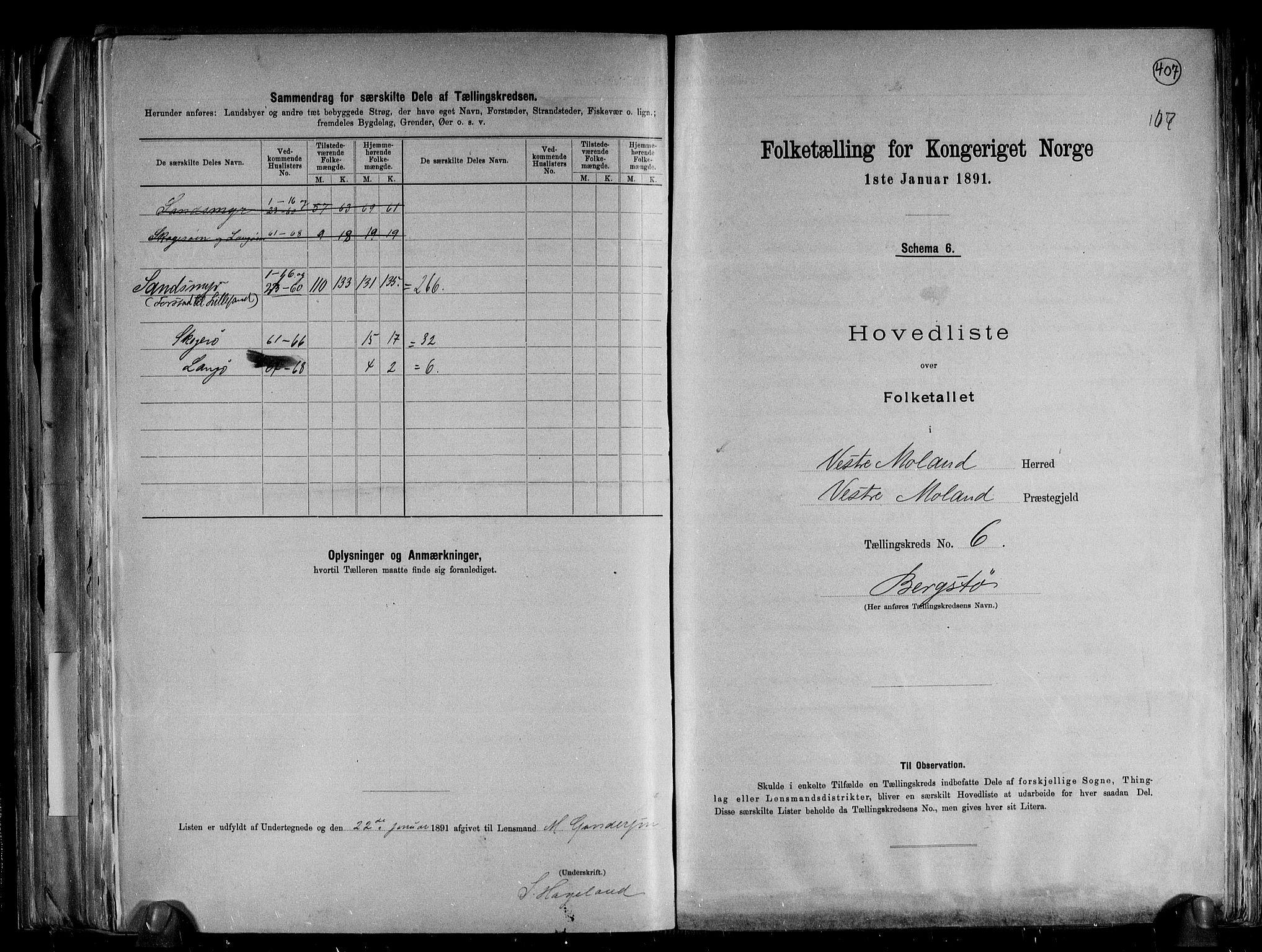RA, Folketelling 1891 for 0926 Vestre Moland herred, 1891, s. 16