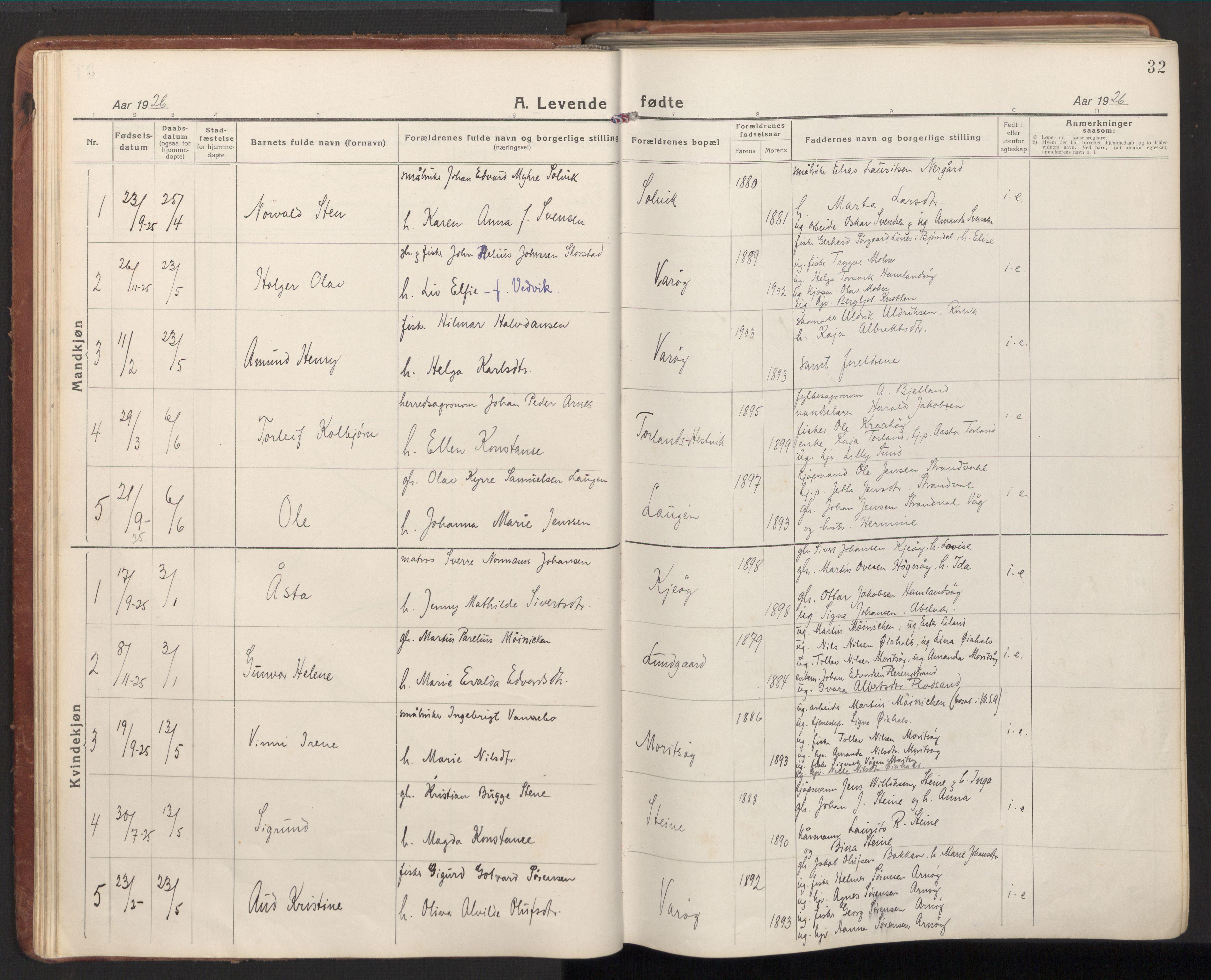 SAT, Ministerialprotokoller, klokkerbøker og fødselsregistre - Nord-Trøndelag, 784/L0678: Ministerialbok nr. 784A13, 1921-1938, s. 32