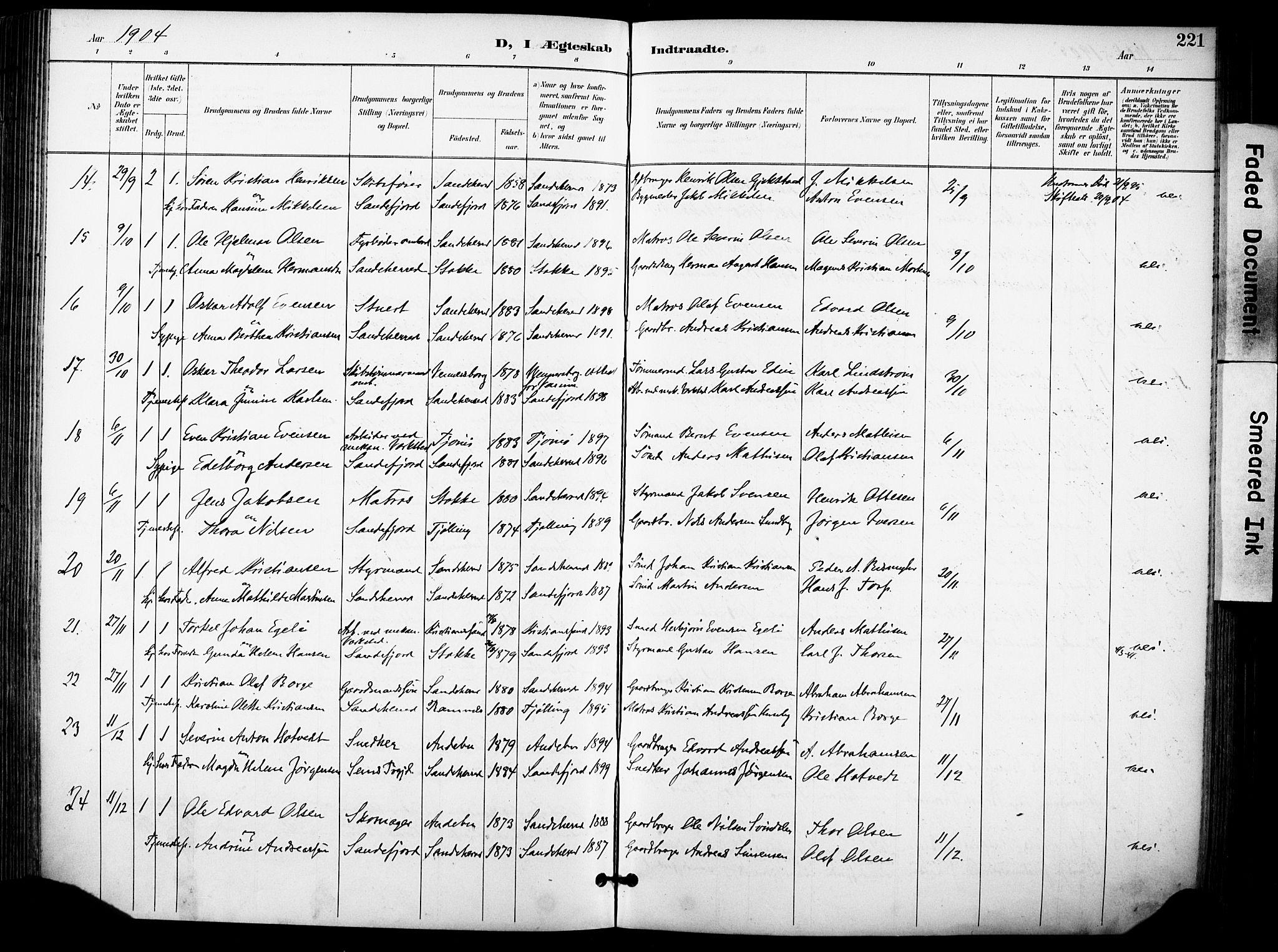 SAKO, Sandefjord kirkebøker, F/Fa/L0004: Ministerialbok nr. 4, 1894-1905, s. 221