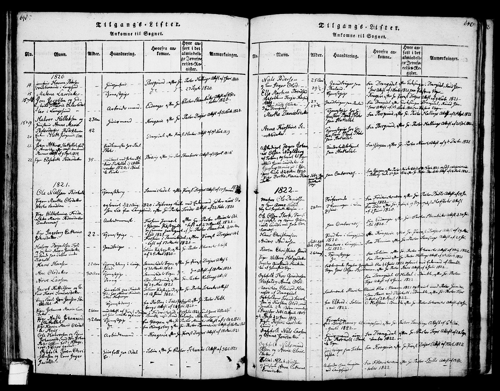 SAKO, Bamble kirkebøker, F/Fa/L0003: Ministerialbok nr. I 3 /1, 1814-1834, s. 641-642