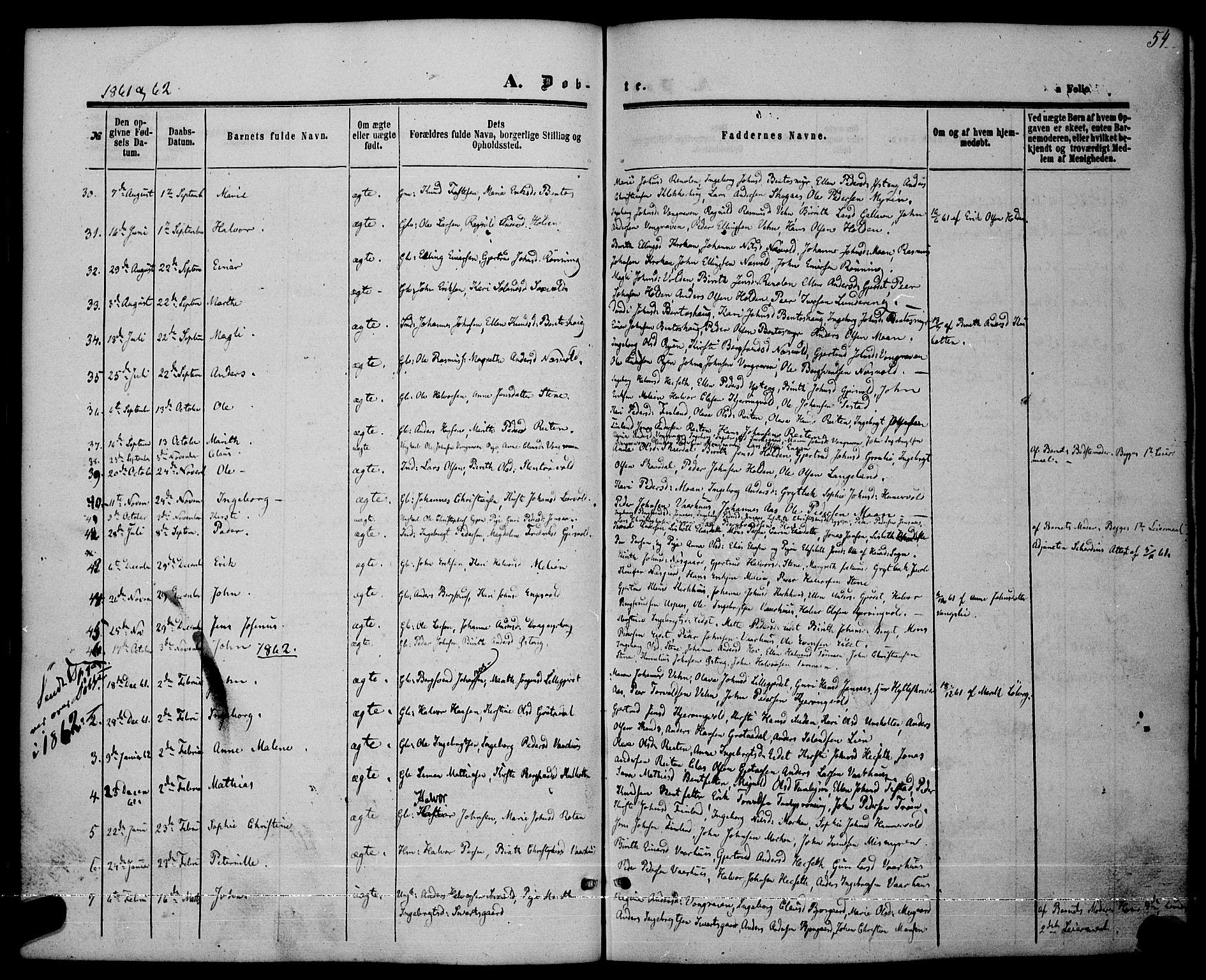 SAT, Ministerialprotokoller, klokkerbøker og fødselsregistre - Sør-Trøndelag, 685/L0968: Ministerialbok nr. 685A07 /3, 1860-1869, s. 54