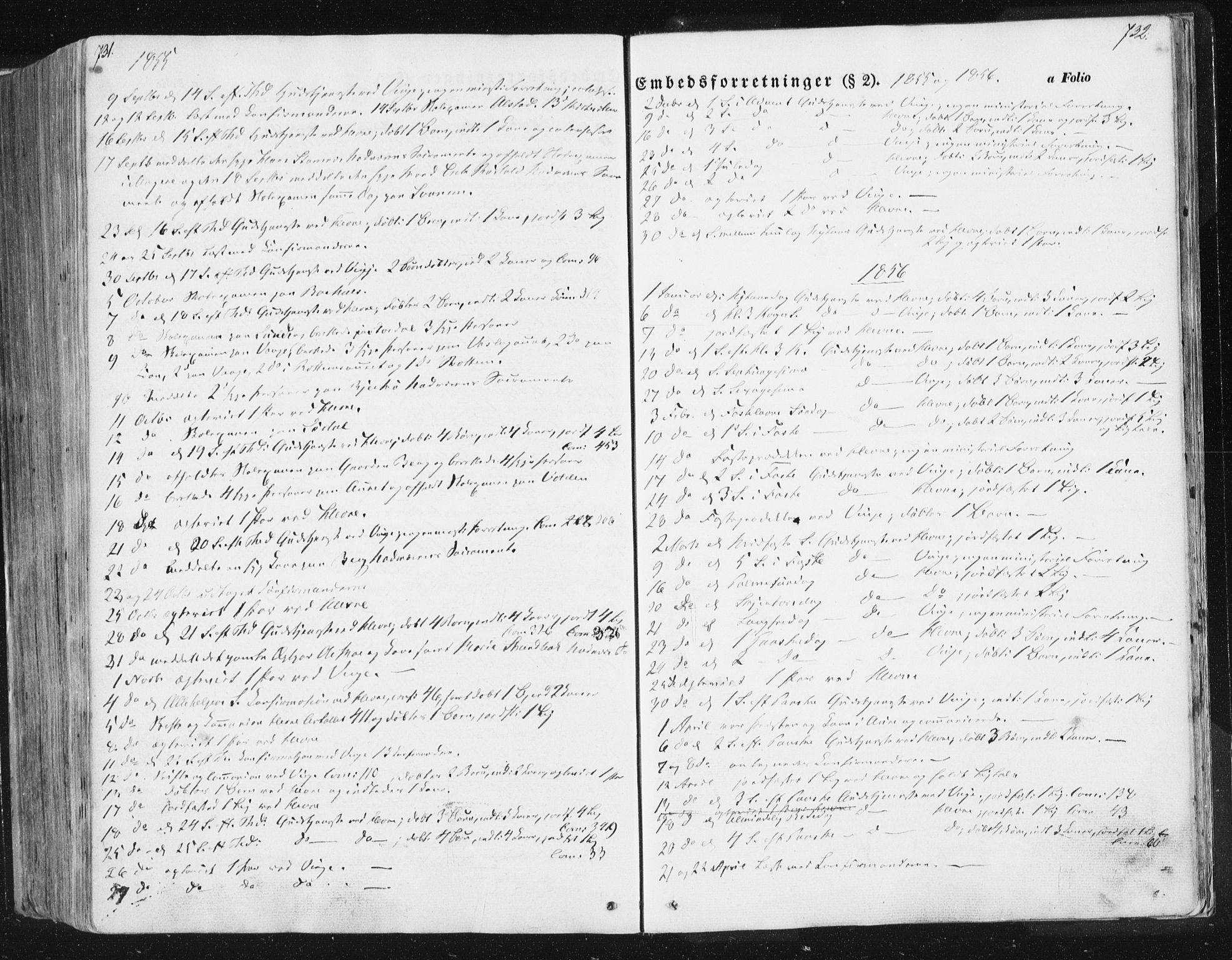 SAT, Ministerialprotokoller, klokkerbøker og fødselsregistre - Sør-Trøndelag, 630/L0494: Ministerialbok nr. 630A07, 1852-1868, s. 731-732