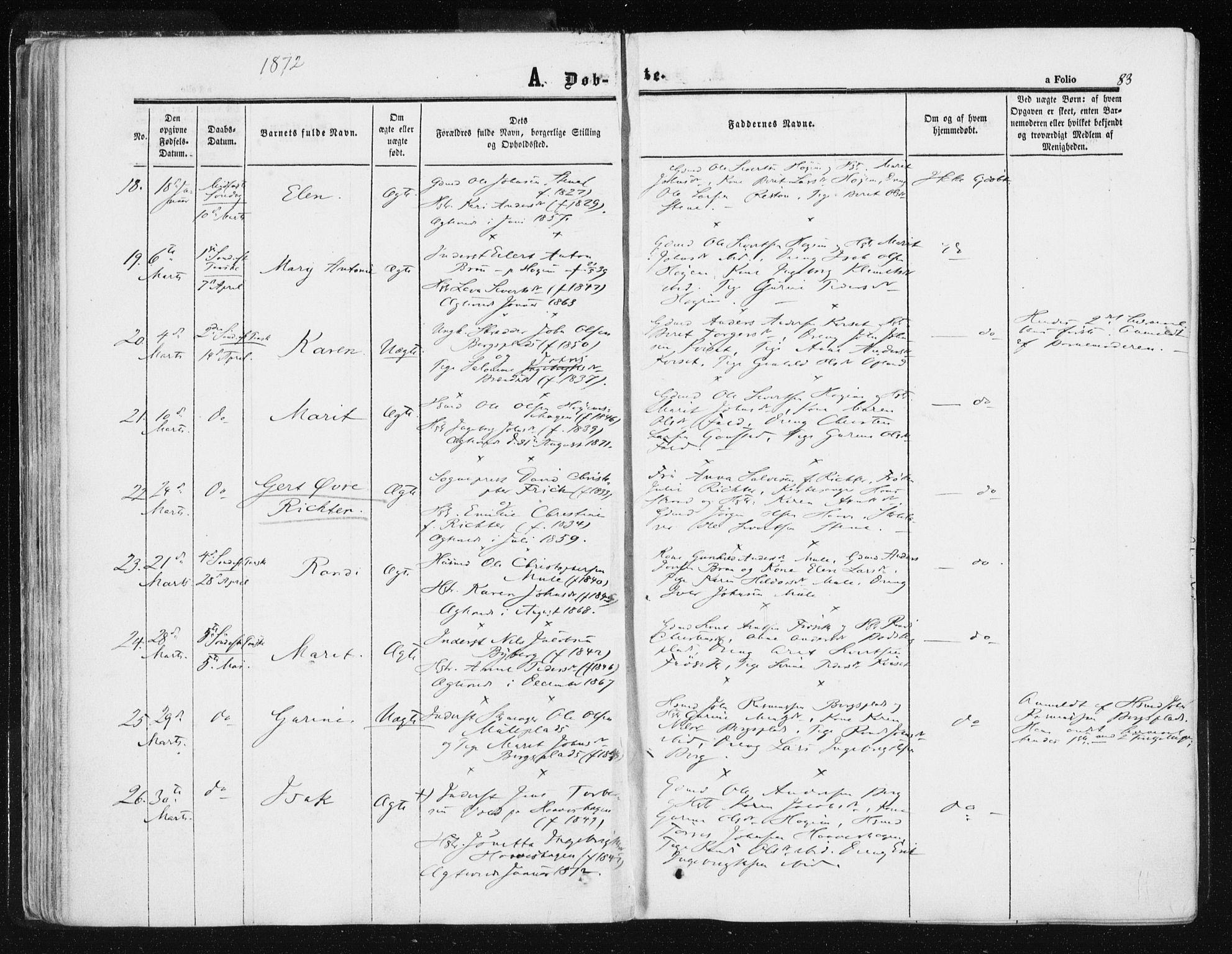 SAT, Ministerialprotokoller, klokkerbøker og fødselsregistre - Sør-Trøndelag, 612/L0377: Ministerialbok nr. 612A09, 1859-1877, s. 83