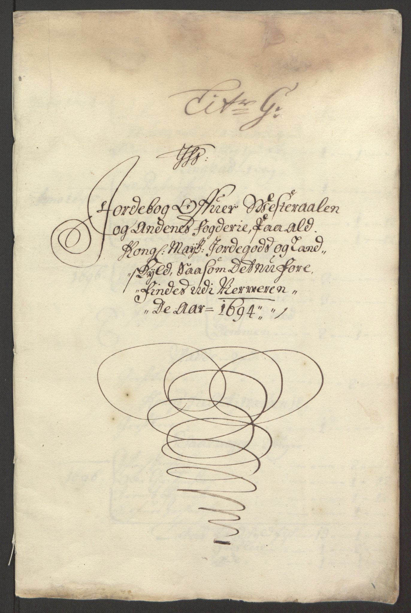 RA, Rentekammeret inntil 1814, Reviderte regnskaper, Fogderegnskap, R67/L4677: Fogderegnskap Vesterålen, Andenes og Lofoten, 1694-1695, s. 98