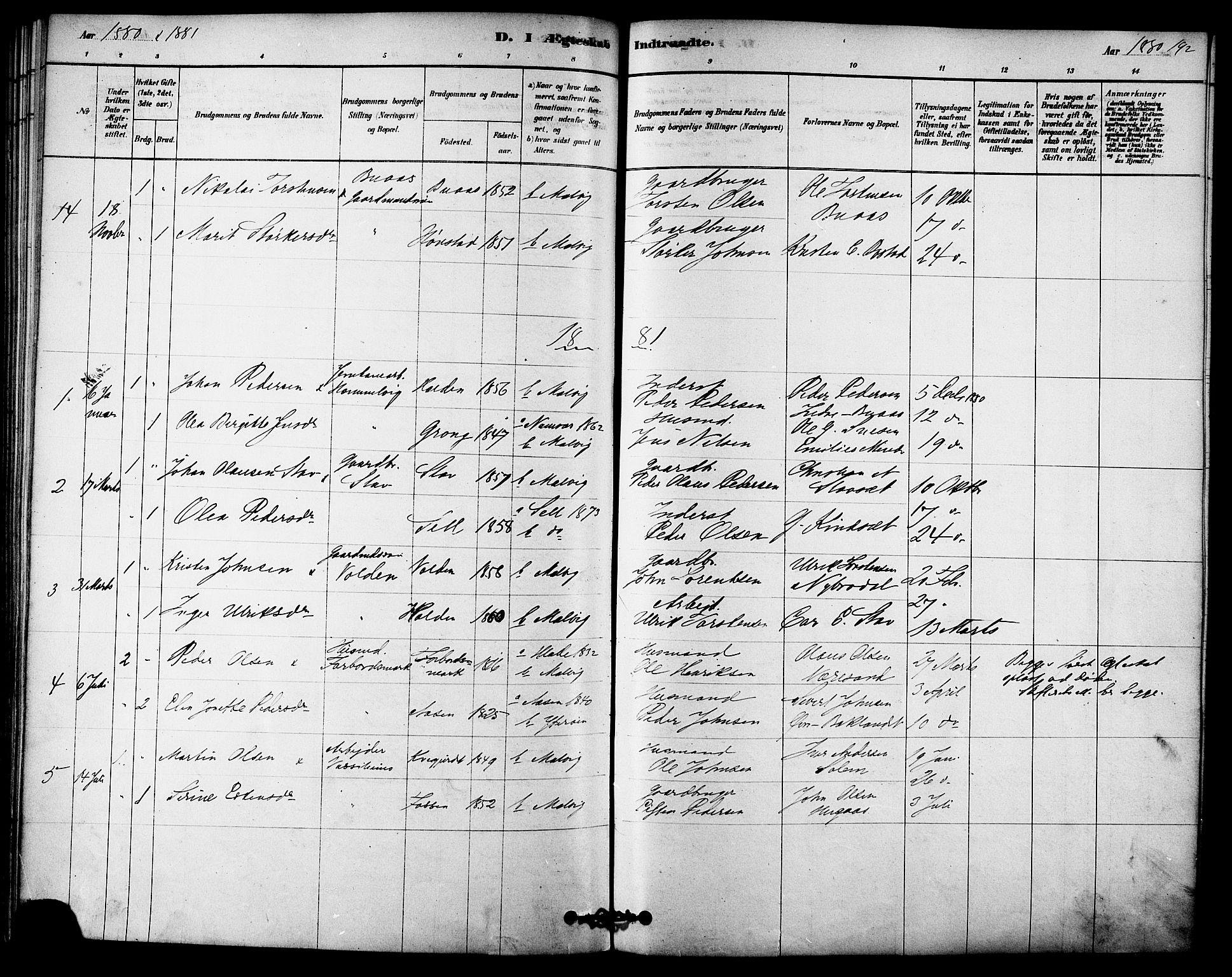 SAT, Ministerialprotokoller, klokkerbøker og fødselsregistre - Sør-Trøndelag, 616/L0410: Ministerialbok nr. 616A07, 1878-1893, s. 192
