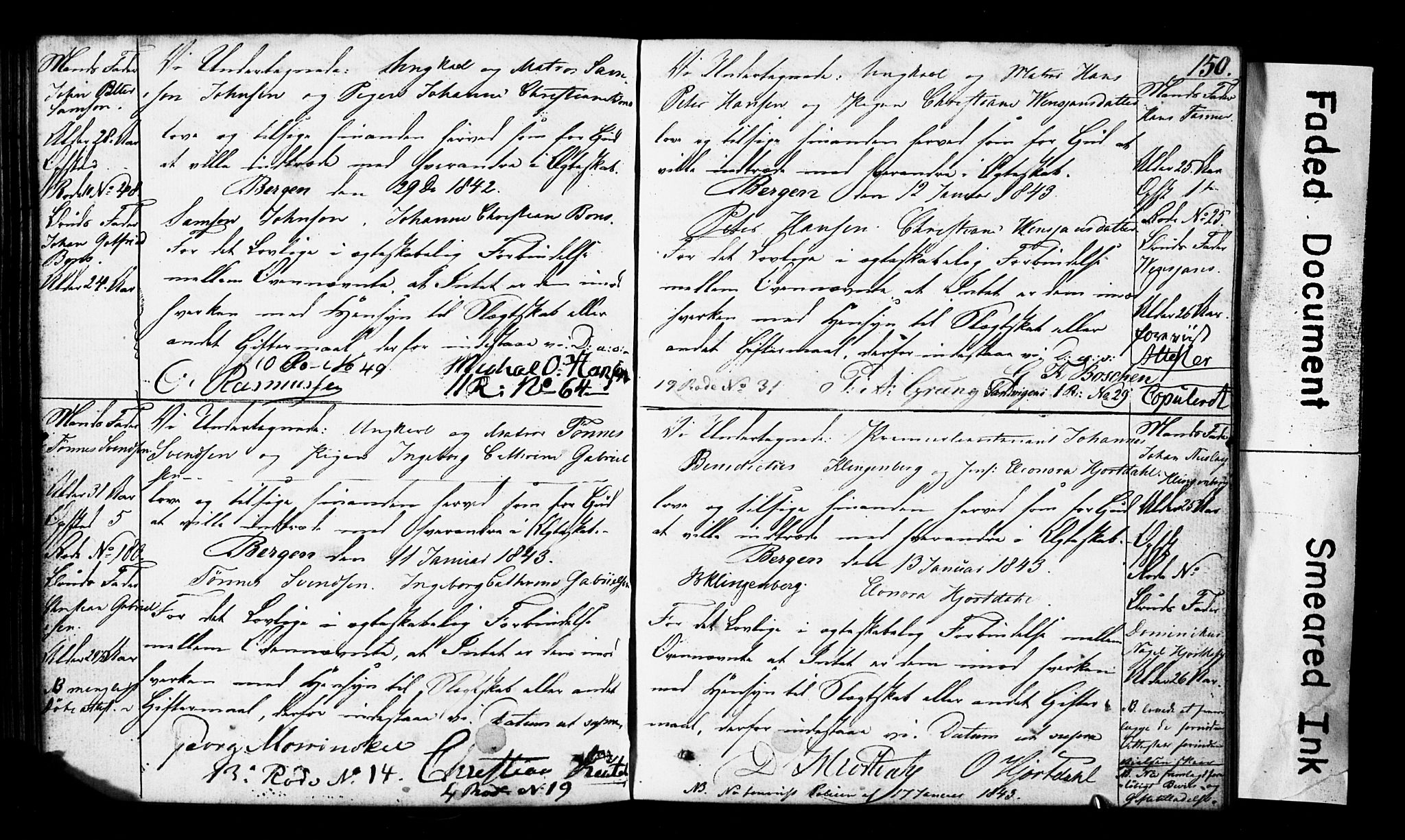 SAB, Domkirken Sokneprestembete, Forlovererklæringer nr. II.5.3, 1832-1845, s. 150