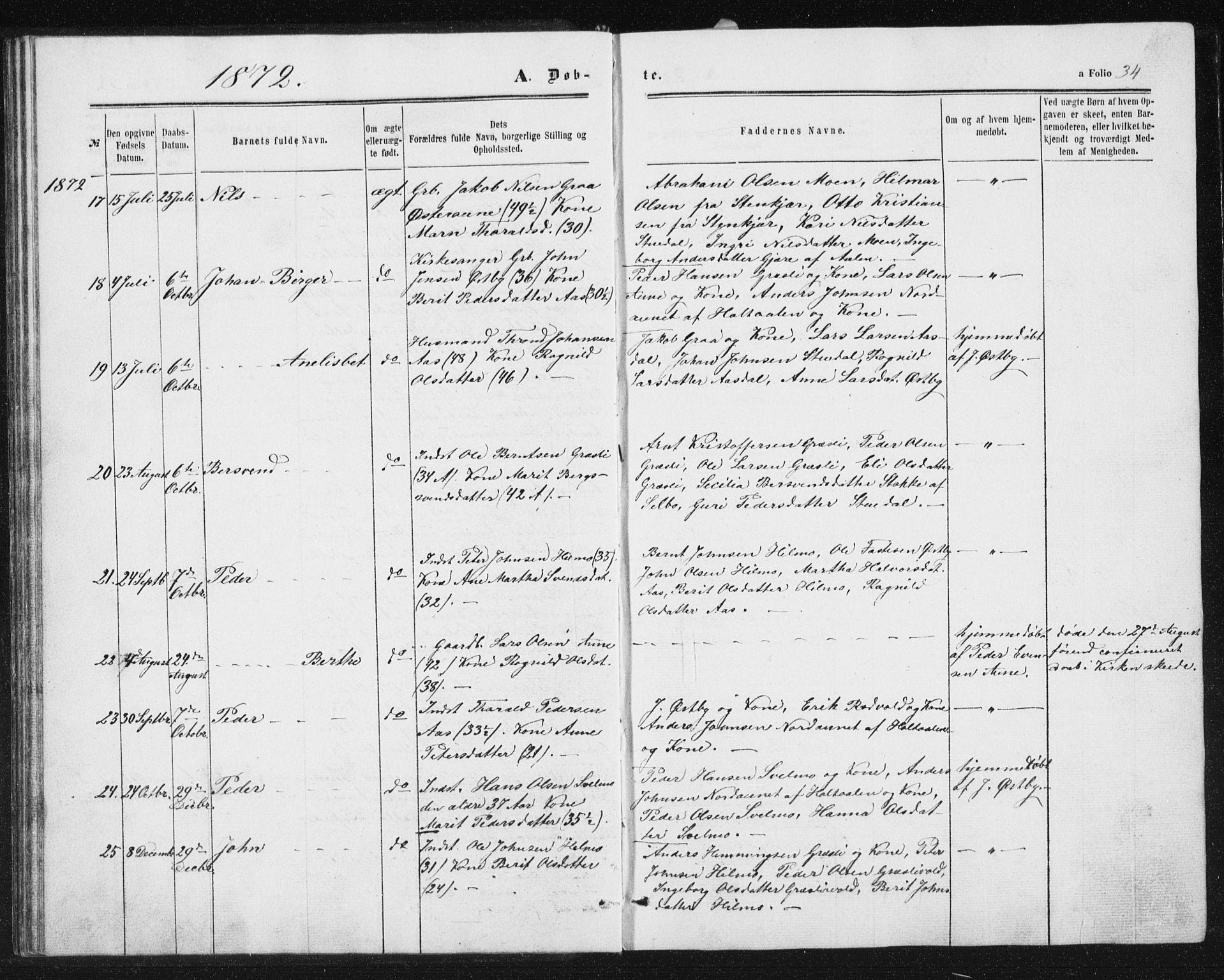 SAT, Ministerialprotokoller, klokkerbøker og fødselsregistre - Sør-Trøndelag, 698/L1166: Klokkerbok nr. 698C03, 1861-1887, s. 34