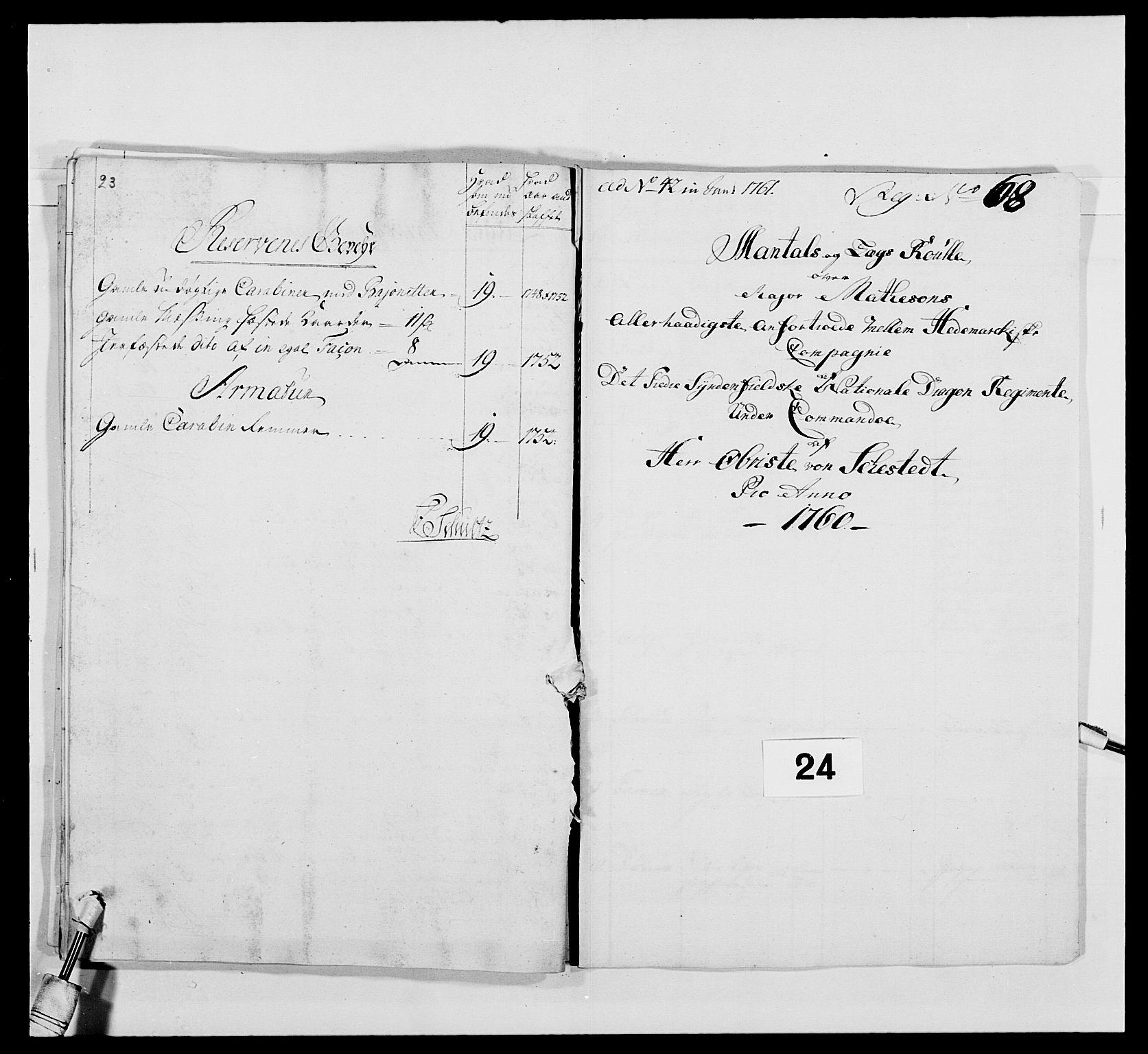 RA, Kommanderende general (KG I) med Det norske krigsdirektorium, E/Ea/L0479: 3. Sønnafjelske dragonregiment, 1756-1760, s. 439