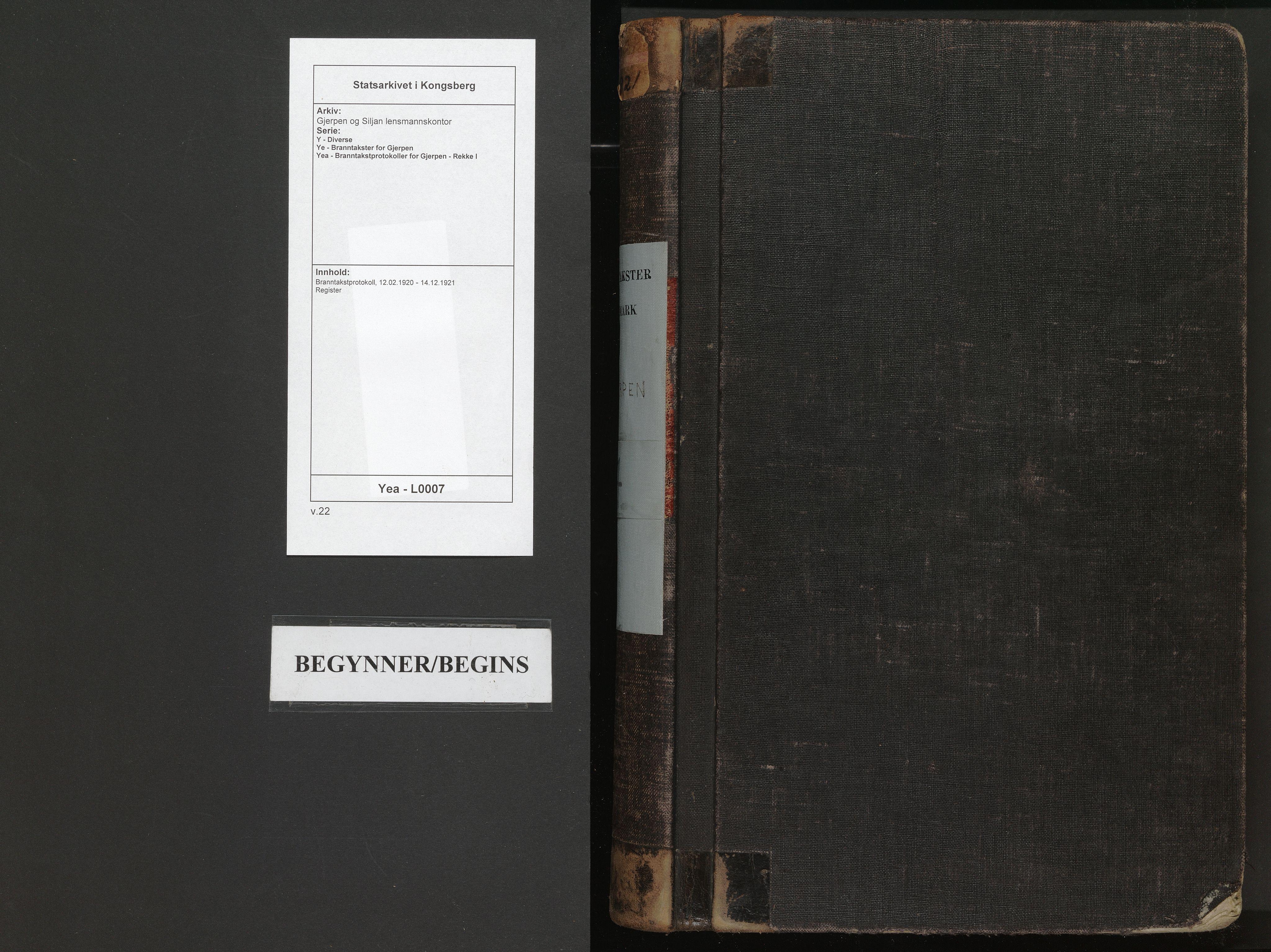 SAKO, Gjerpen og Siljan lensmannskontor, Y/Ye/Yea/L0007: Branntakstprotokoll, 1920-1921