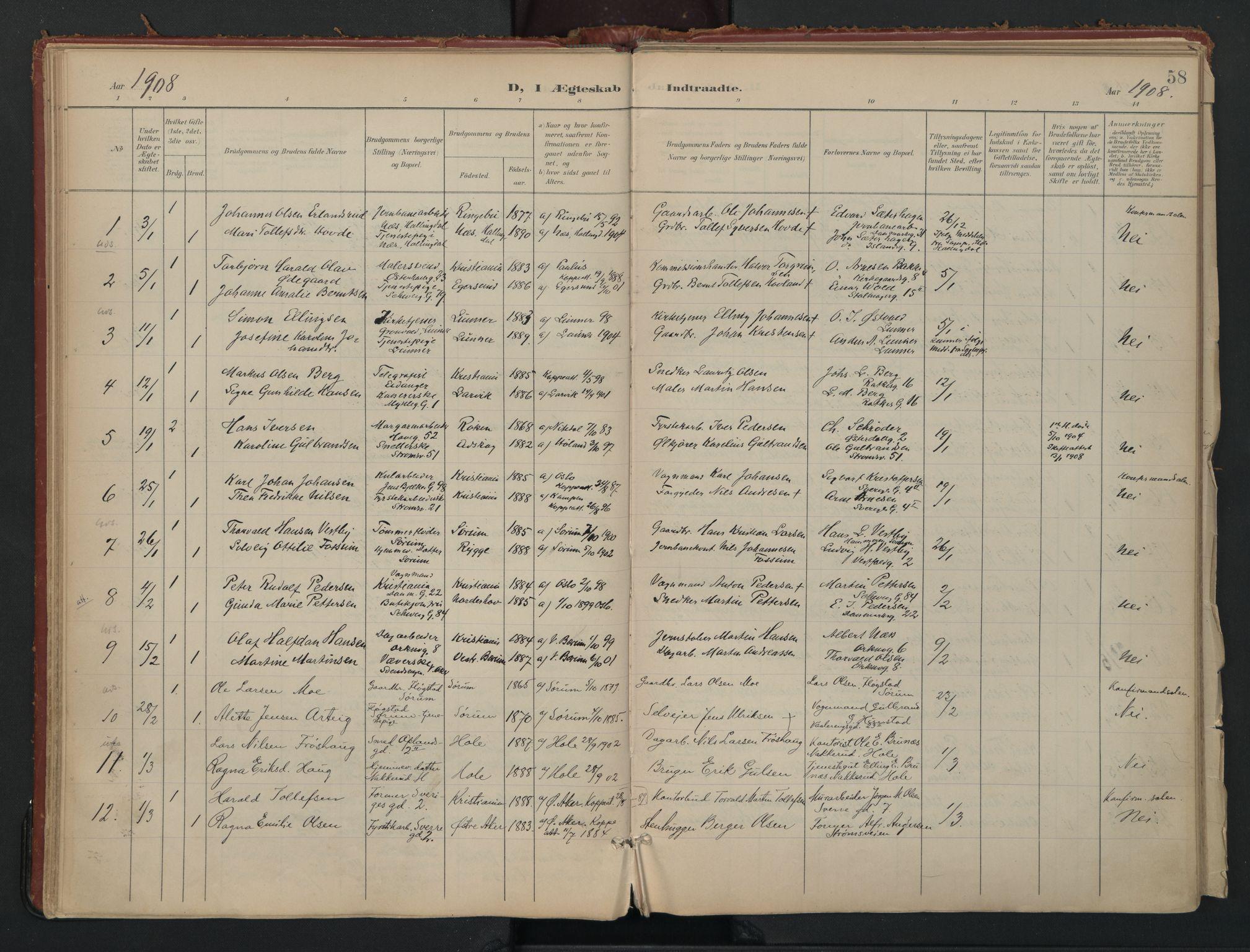 SAO, Vålerengen prestekontor Kirkebøker, F/Fa/L0002: Ministerialbok nr. 2, 1899-1924, s. 58
