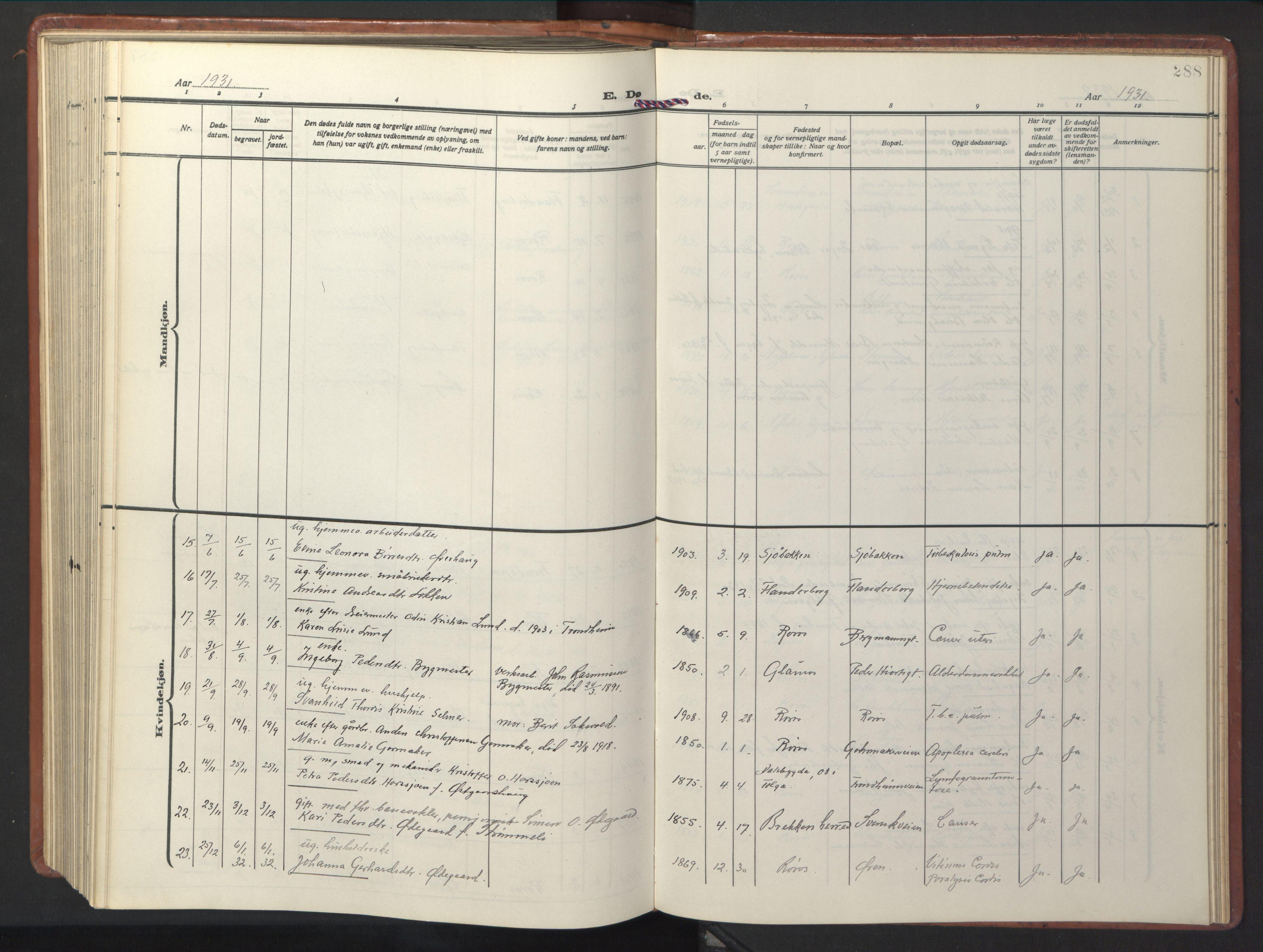 SAT, Ministerialprotokoller, klokkerbøker og fødselsregistre - Sør-Trøndelag, 681/L0943: Klokkerbok nr. 681C07, 1926-1954, s. 288
