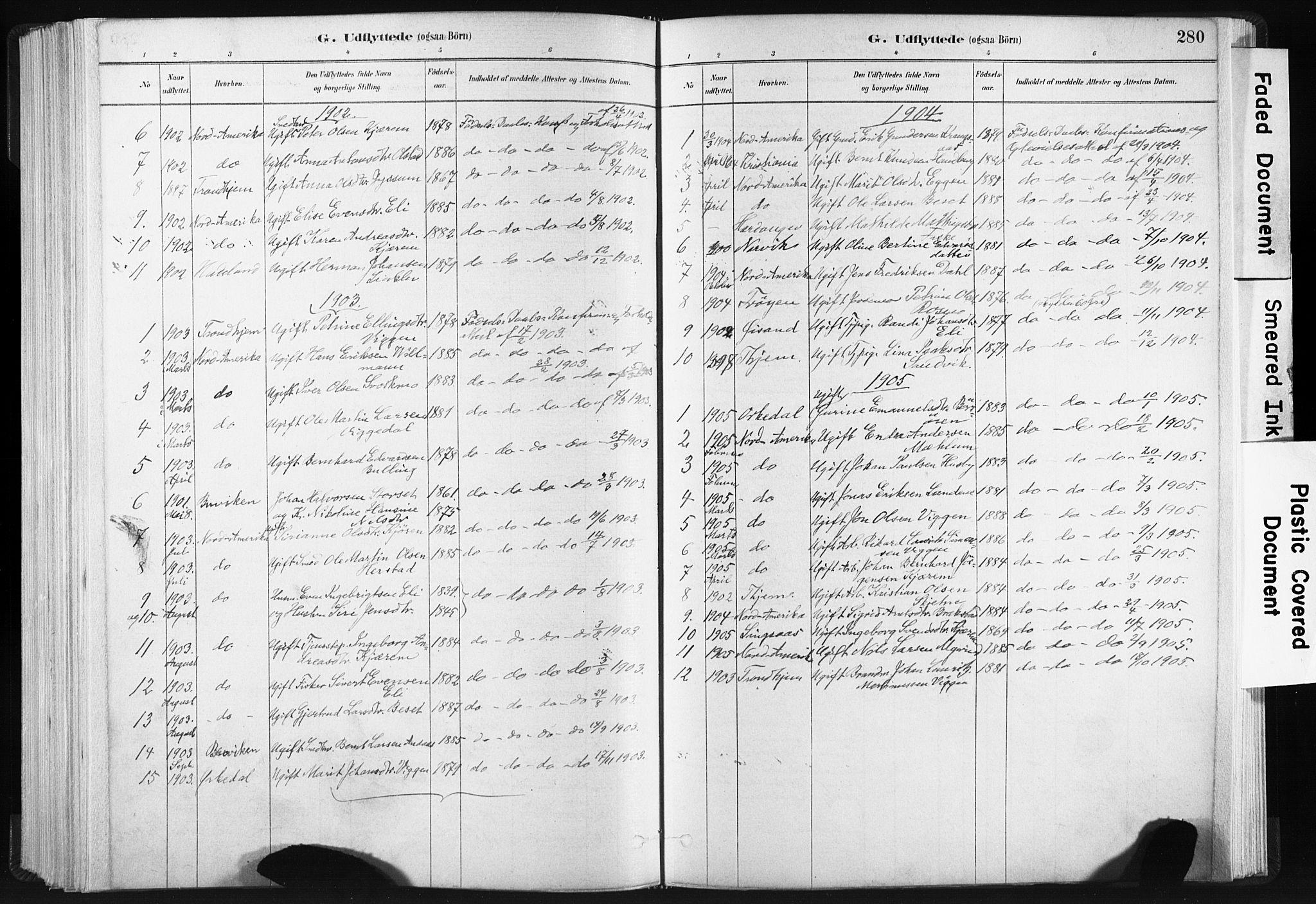 SAT, Ministerialprotokoller, klokkerbøker og fødselsregistre - Sør-Trøndelag, 665/L0773: Ministerialbok nr. 665A08, 1879-1905, s. 280