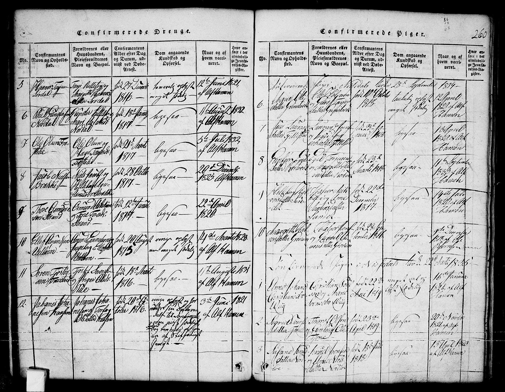 SAKO, Nissedal kirkebøker, G/Ga/L0001: Klokkerbok nr. I 1, 1814-1860, s. 260