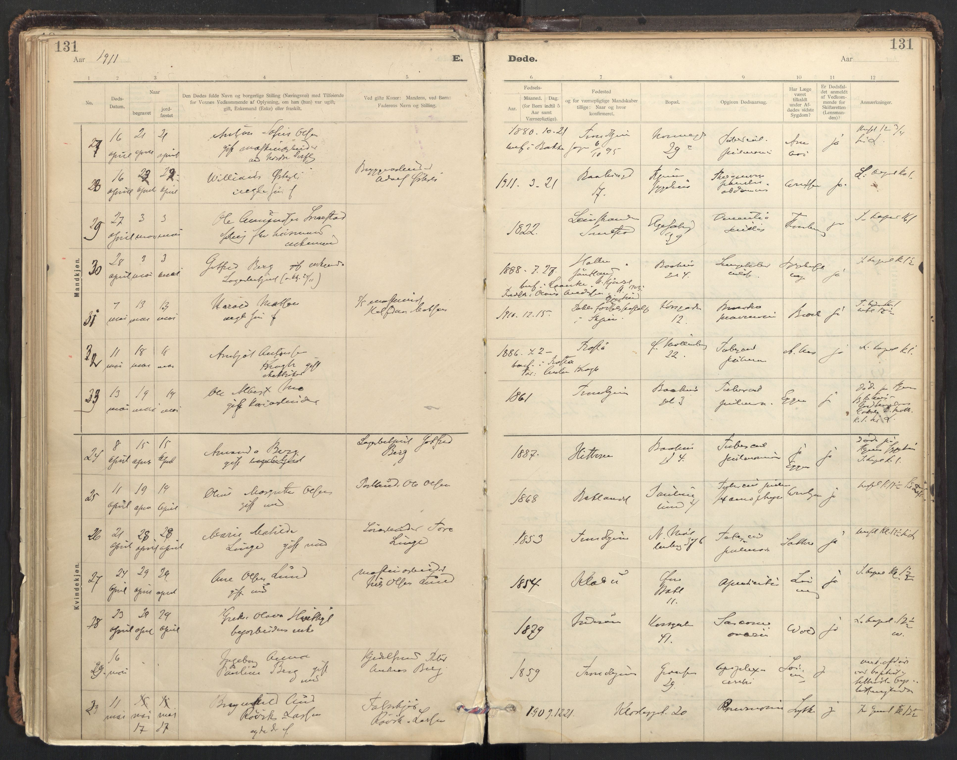 SAT, Ministerialprotokoller, klokkerbøker og fødselsregistre - Sør-Trøndelag, 604/L0204: Ministerialbok nr. 604A24, 1911-1920, s. 131