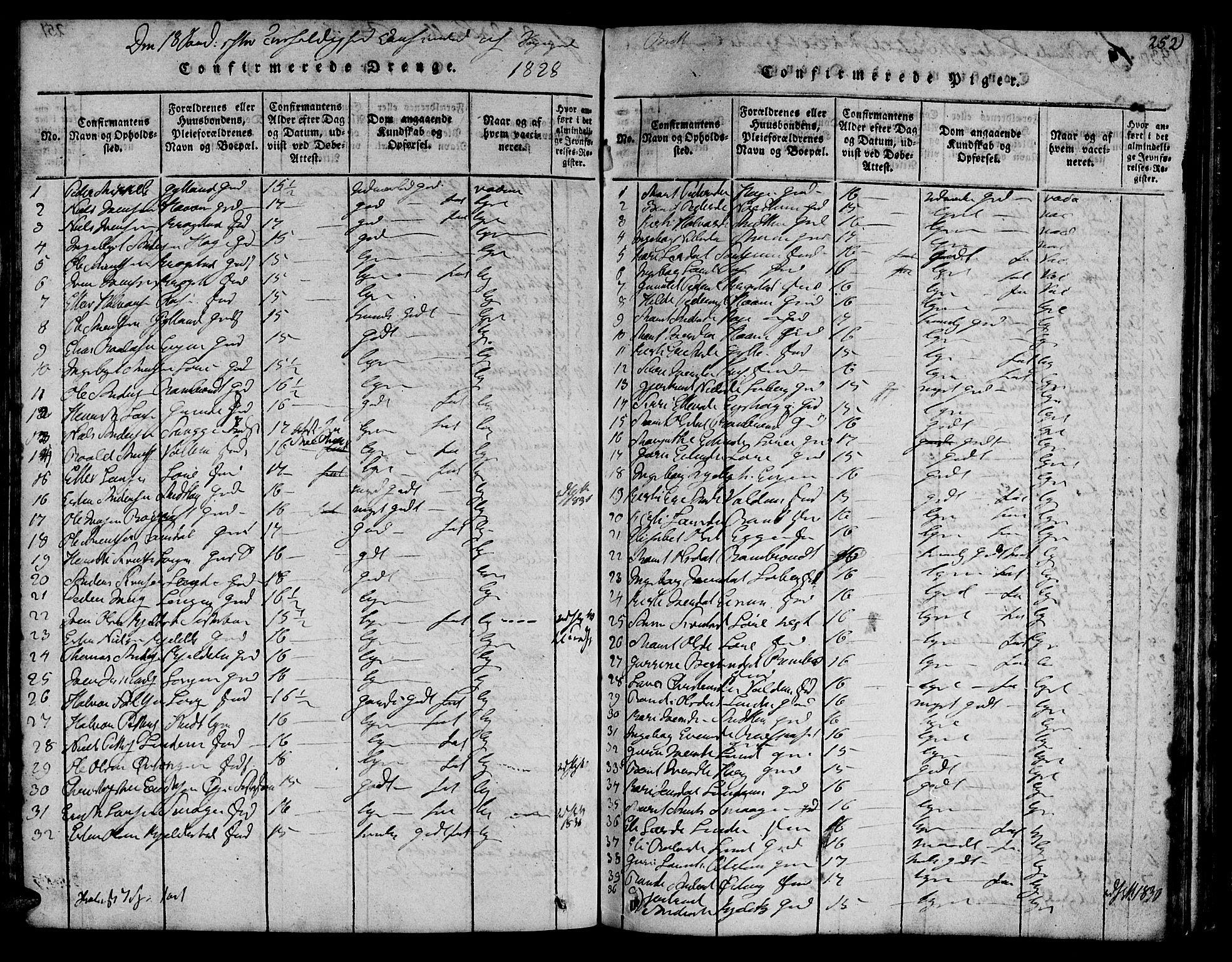 SAT, Ministerialprotokoller, klokkerbøker og fødselsregistre - Sør-Trøndelag, 692/L1102: Ministerialbok nr. 692A02, 1816-1842, s. 252